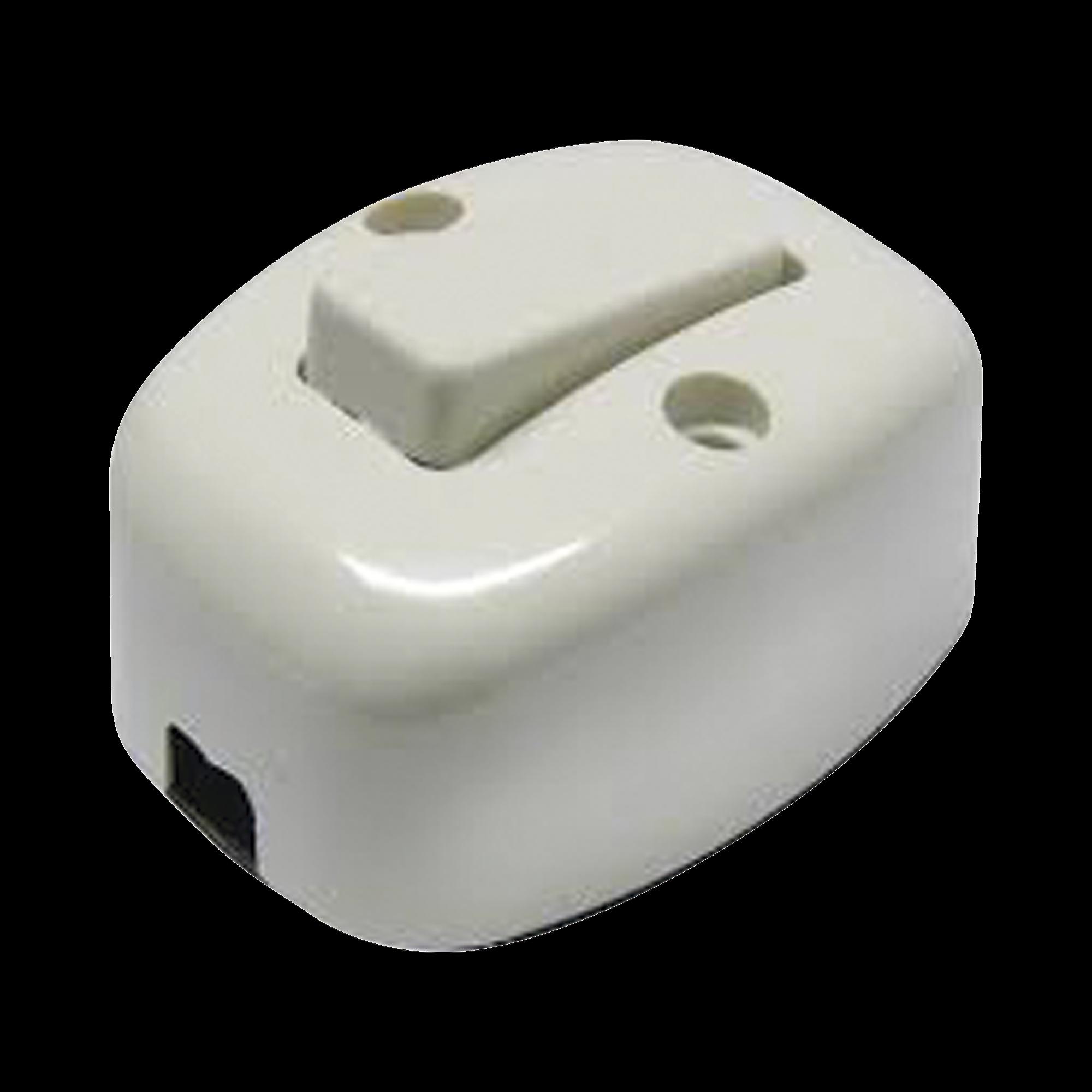 Apagador sencillo visible de baquelita oval 6 Amp  incluye tornillos y bases de instalación.