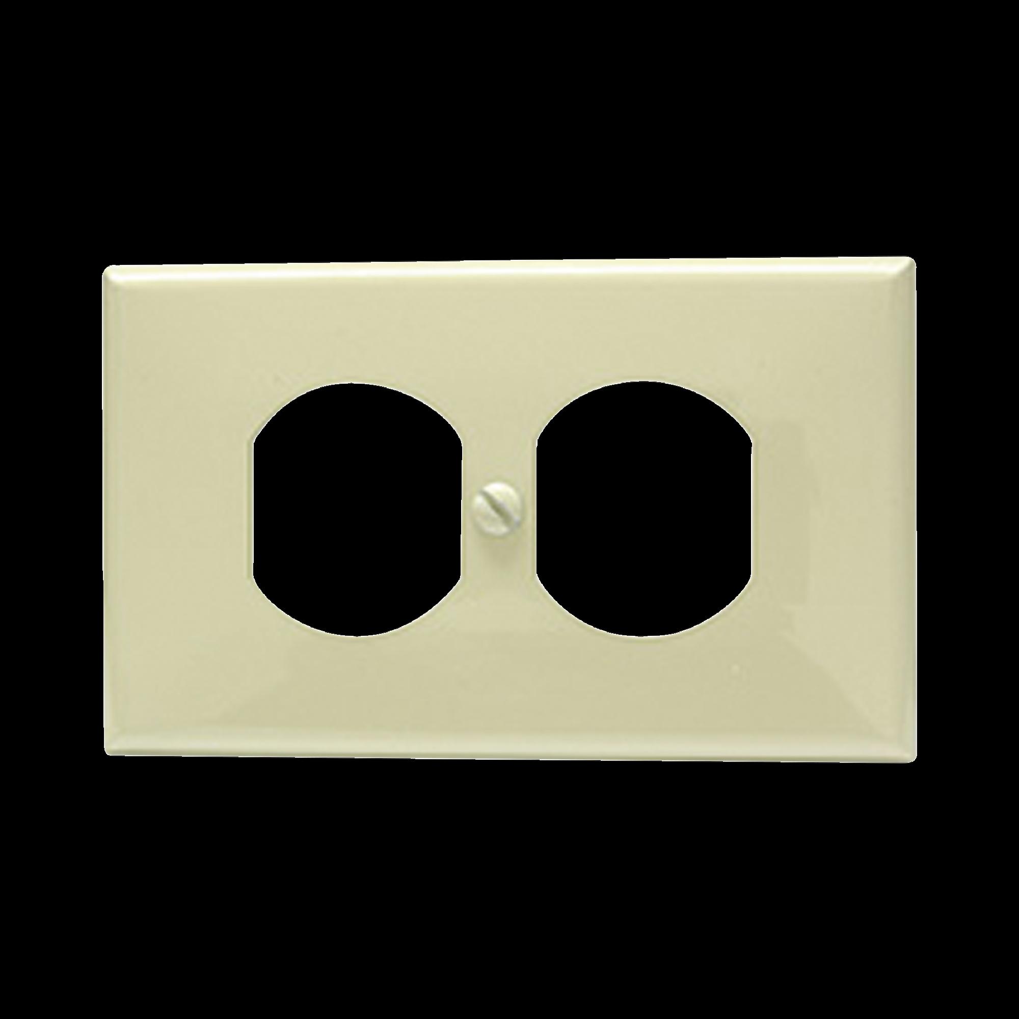 Placa de plástico para contacto dúplex color marfil.