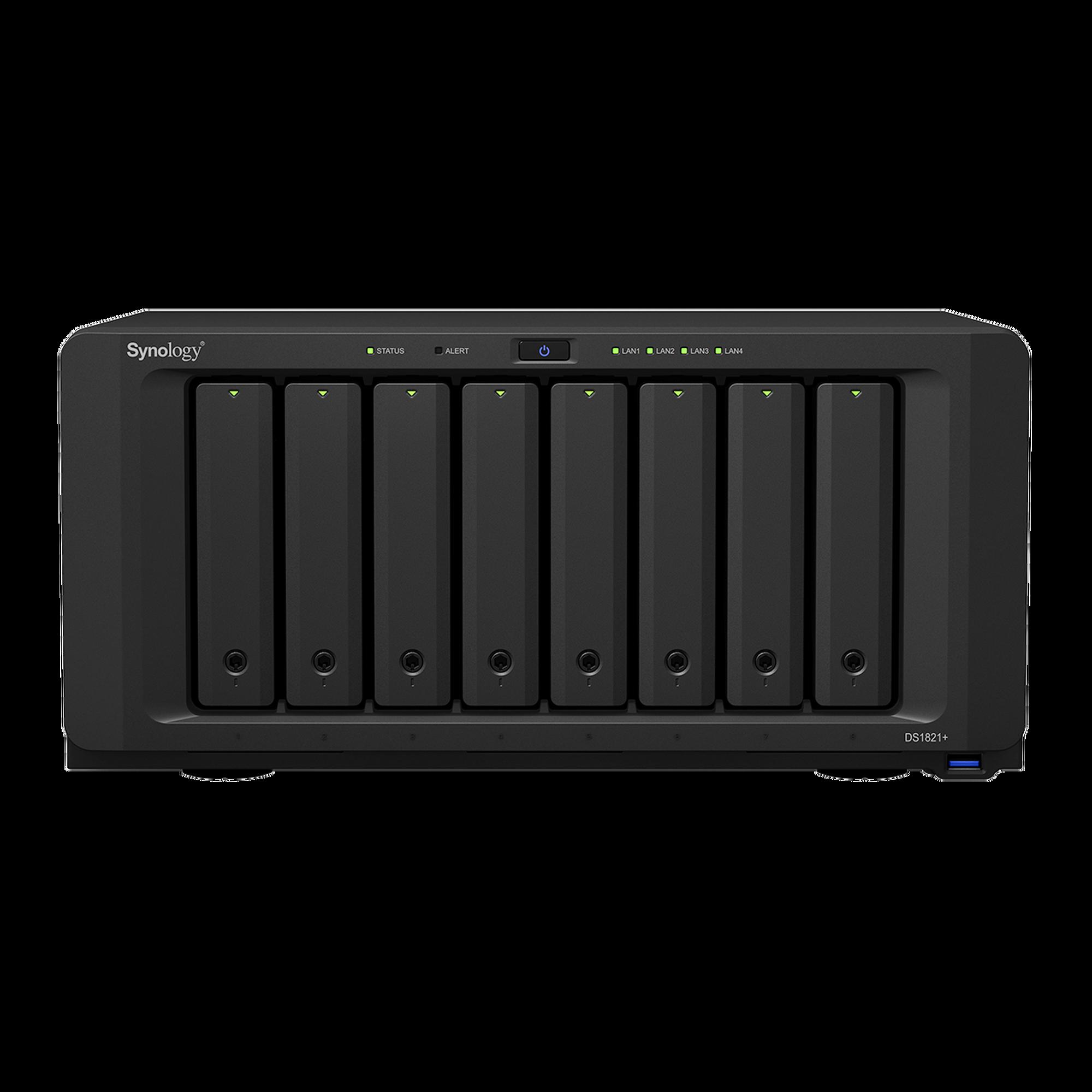 Servidor NAS de escritorio con 8 bahías / Expansible a 18 bahías / Hasta 256 TB / 4GB de RAM