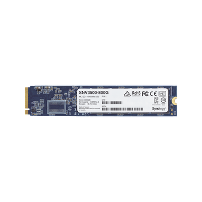 SSD 800GB NVMe M.2 22110, diseñada para Synology NAS con ranuras M.2 integradas
