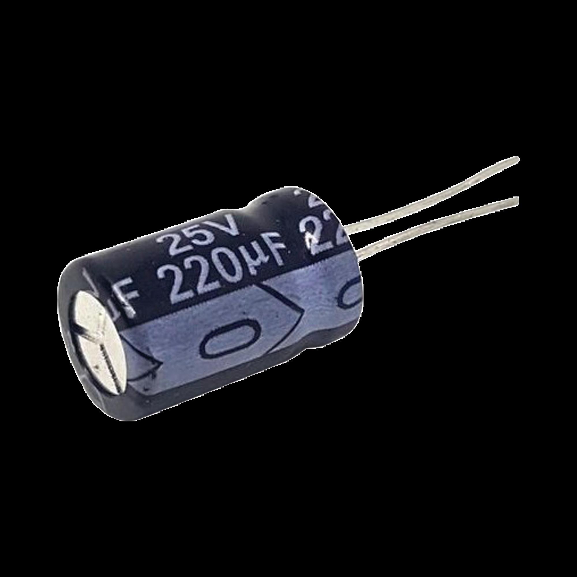 Capacitor Electrolítico Radial de Aluminio de 220 ?Fd a 25 Vcd.