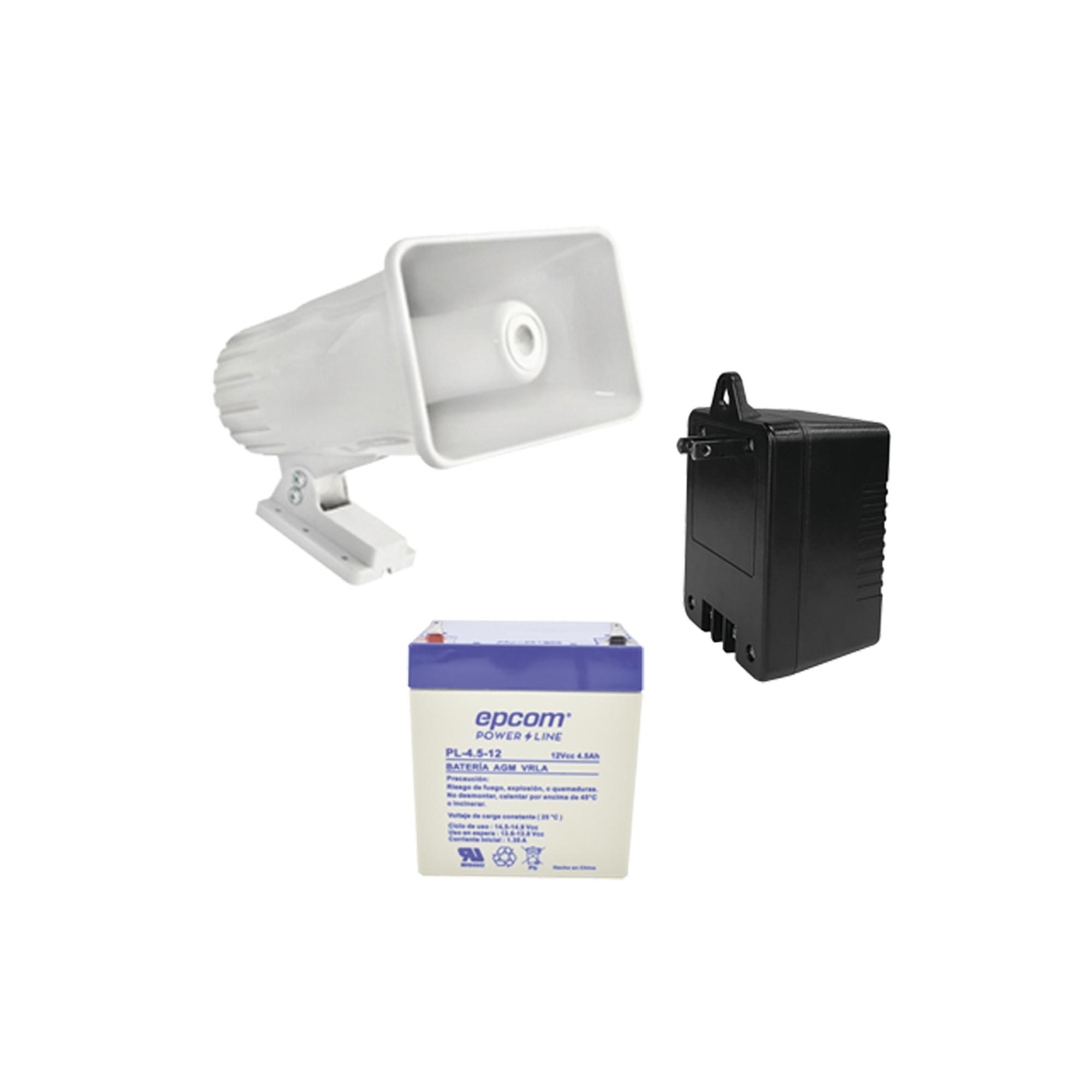 Kit de accesorios con Bateria 4Ah, Transformador 16.5Vca y Sirena de 30 Watts