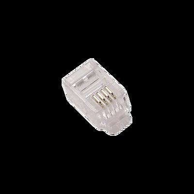 Conector Plug Modular Telefónico RJ-22 para cable.
