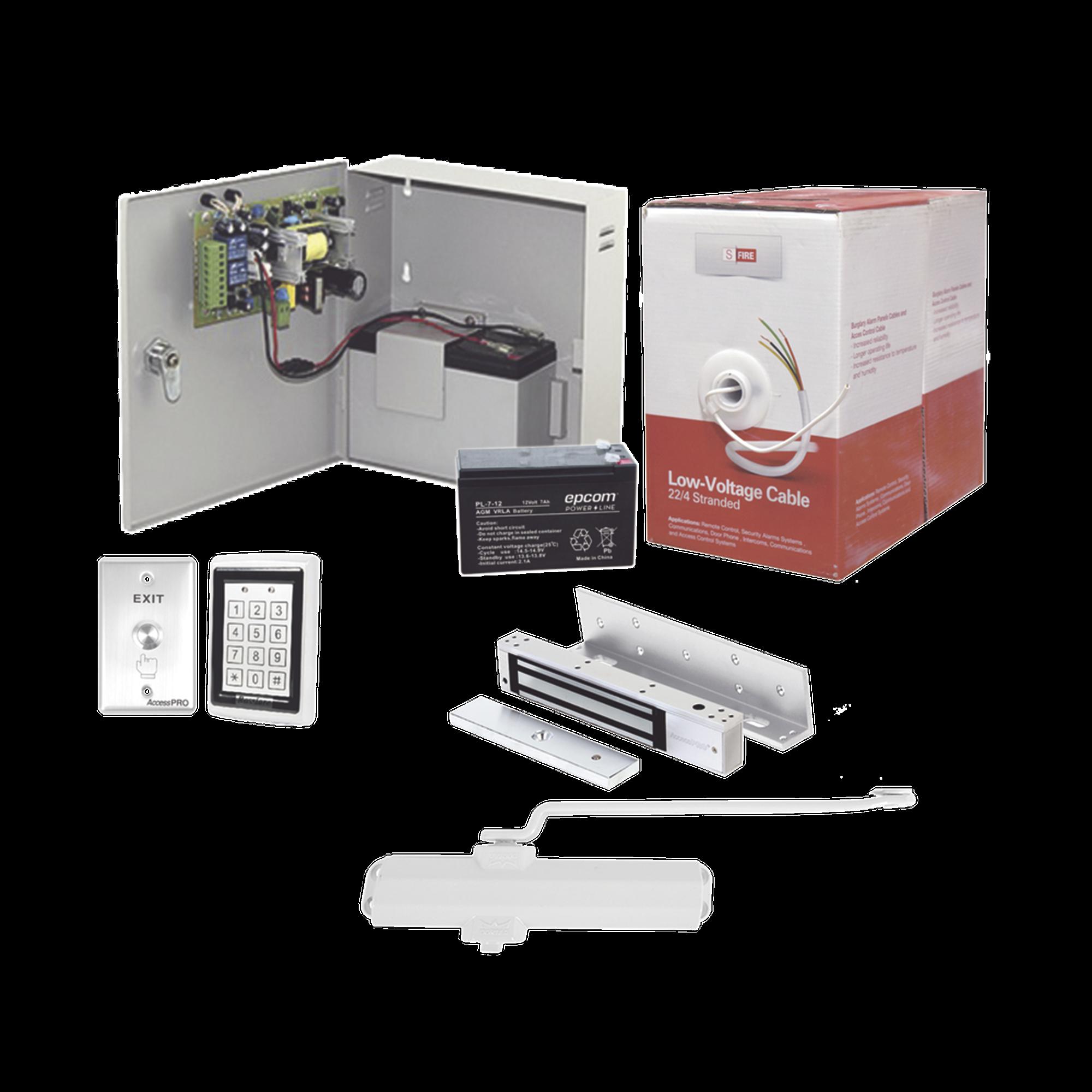 Sistema Completo de Acceso, Incluye Teclado Anti-Vandalico, Chapa magnética con bracket, Cierra puerta, Botón de Salida, Cable  Gratis , y fuente profesional con Batería