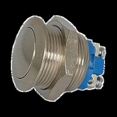 Botón Interruptor Momentáneo Antivandálico, SPST, Normalmente Abierto, 2 Amp. Niquel.