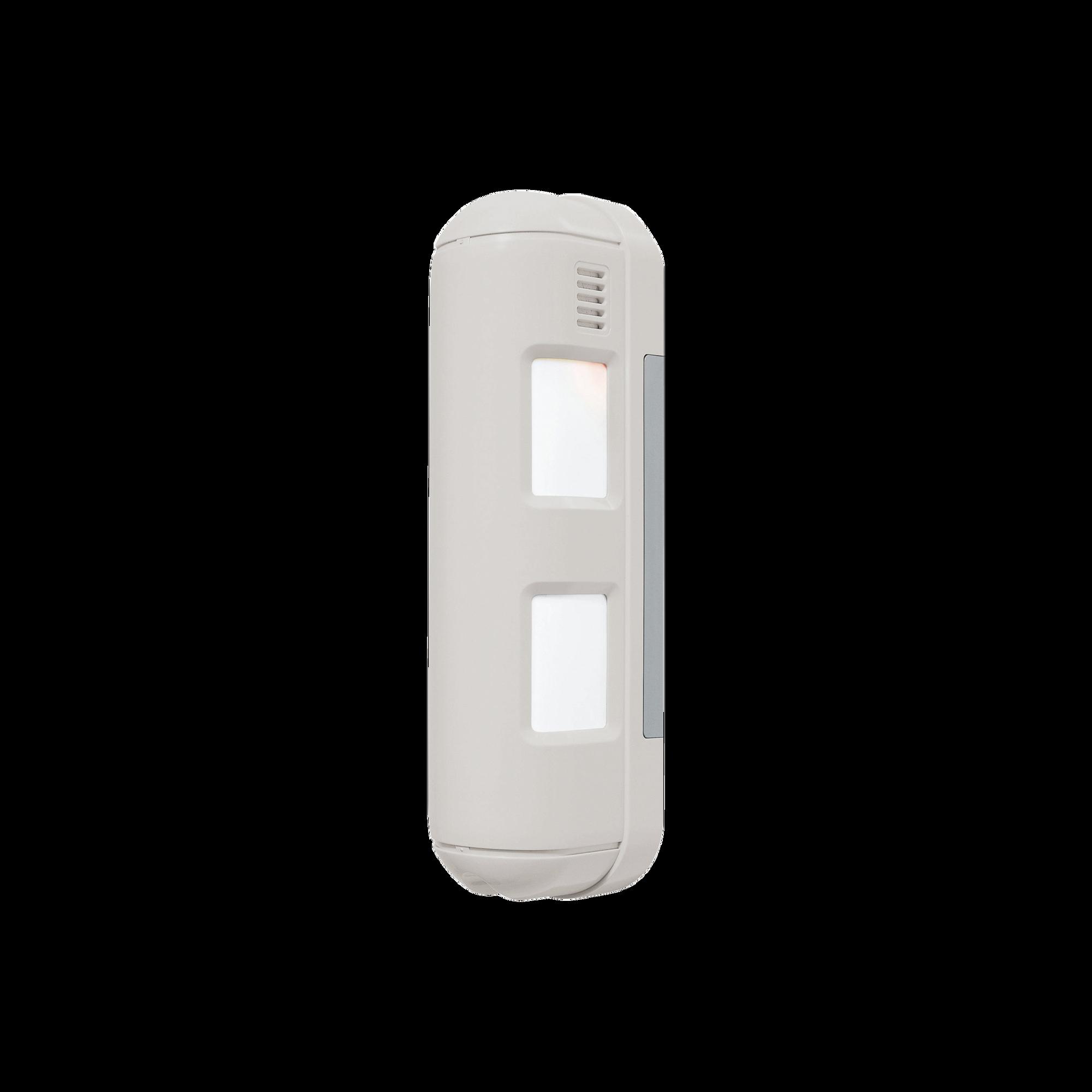 PIR de doble cobertura, ideal para lugares angostos, fachadas o generar bardas virtuales hasta 24 metros