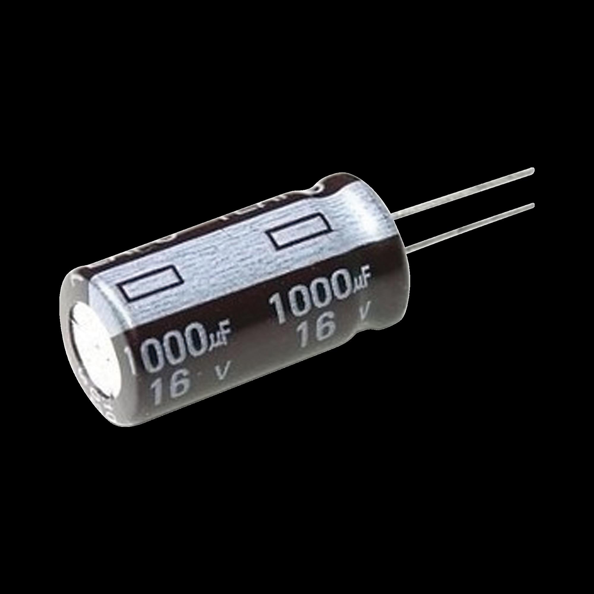 Capacitor Electrolitico de Aluminio, 1000 ?Fd, 16 Vcd, 10 x 15 mm, 105 ?C.