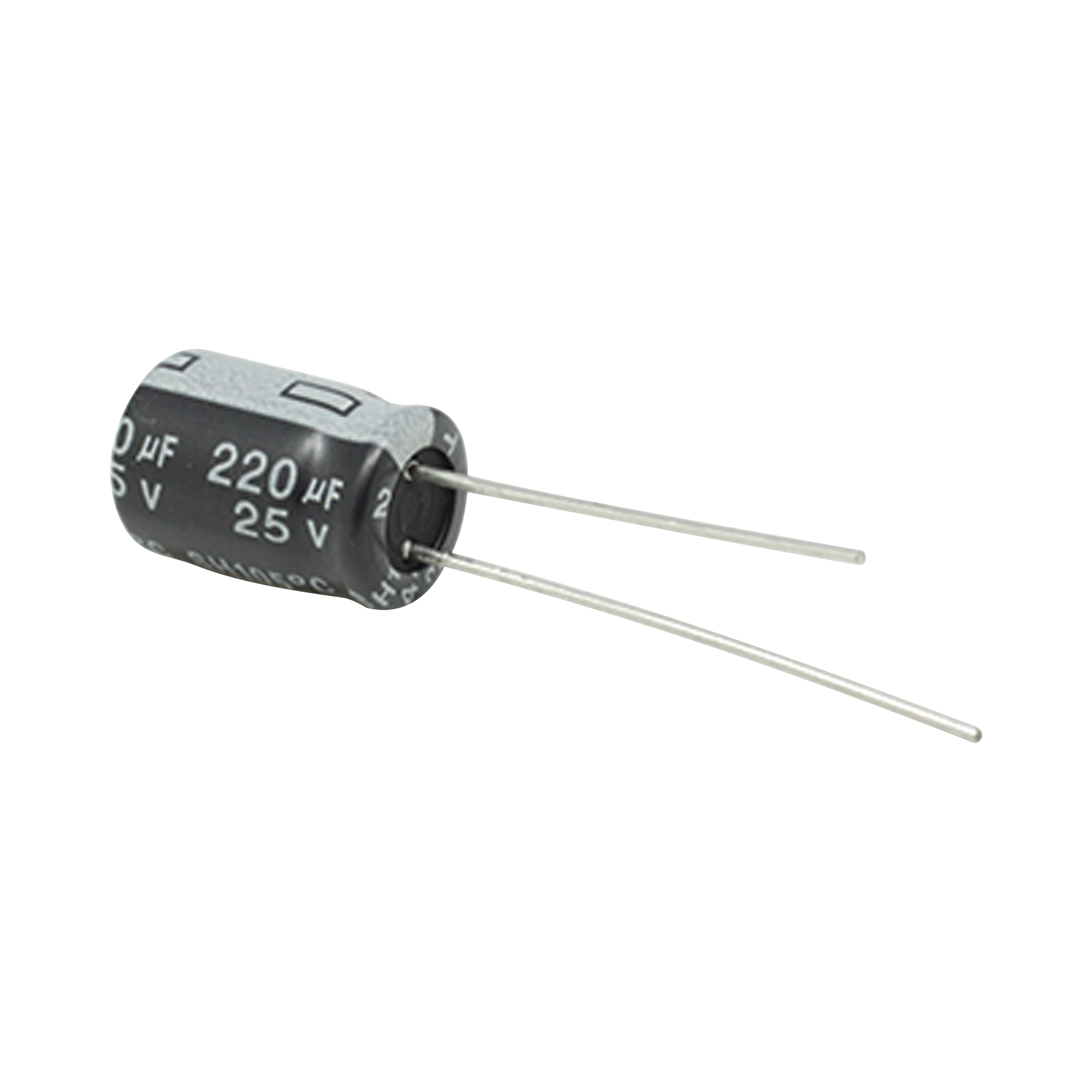 Capacitor Electrolítico de Aluminio, 220 ?Fd, 25 Vcd,  8 x 11 mm, 105 ?C.