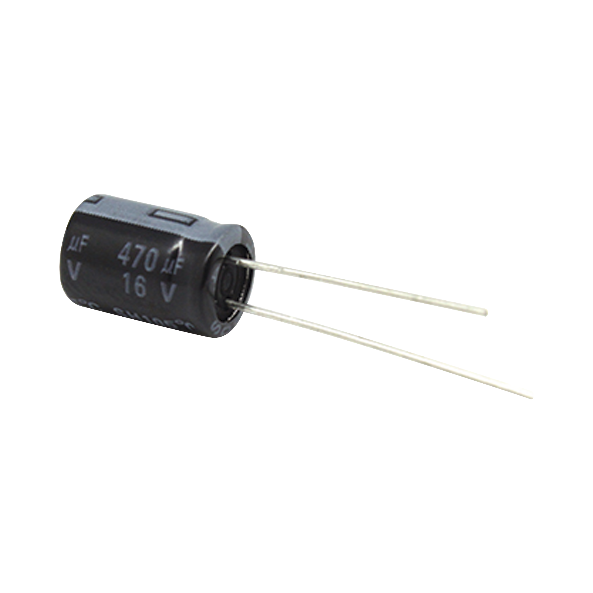 Capacitor Electrolítico de Aluminio, 470 ?Fd, 16 Vcd,  8 x 11 mm, 105 ?C.