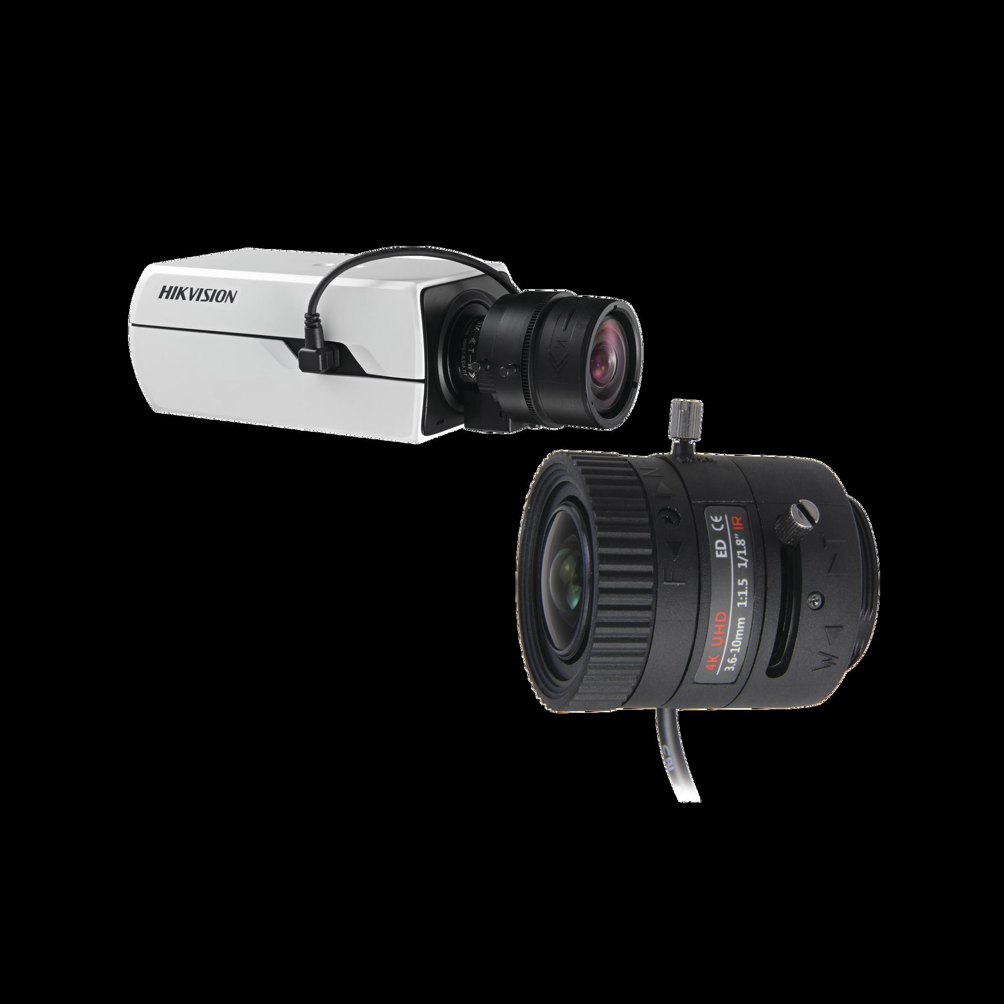 Kit de Camara Hikvision Tipo Box 4K y Lente 4K de 3.6 a 10 mm