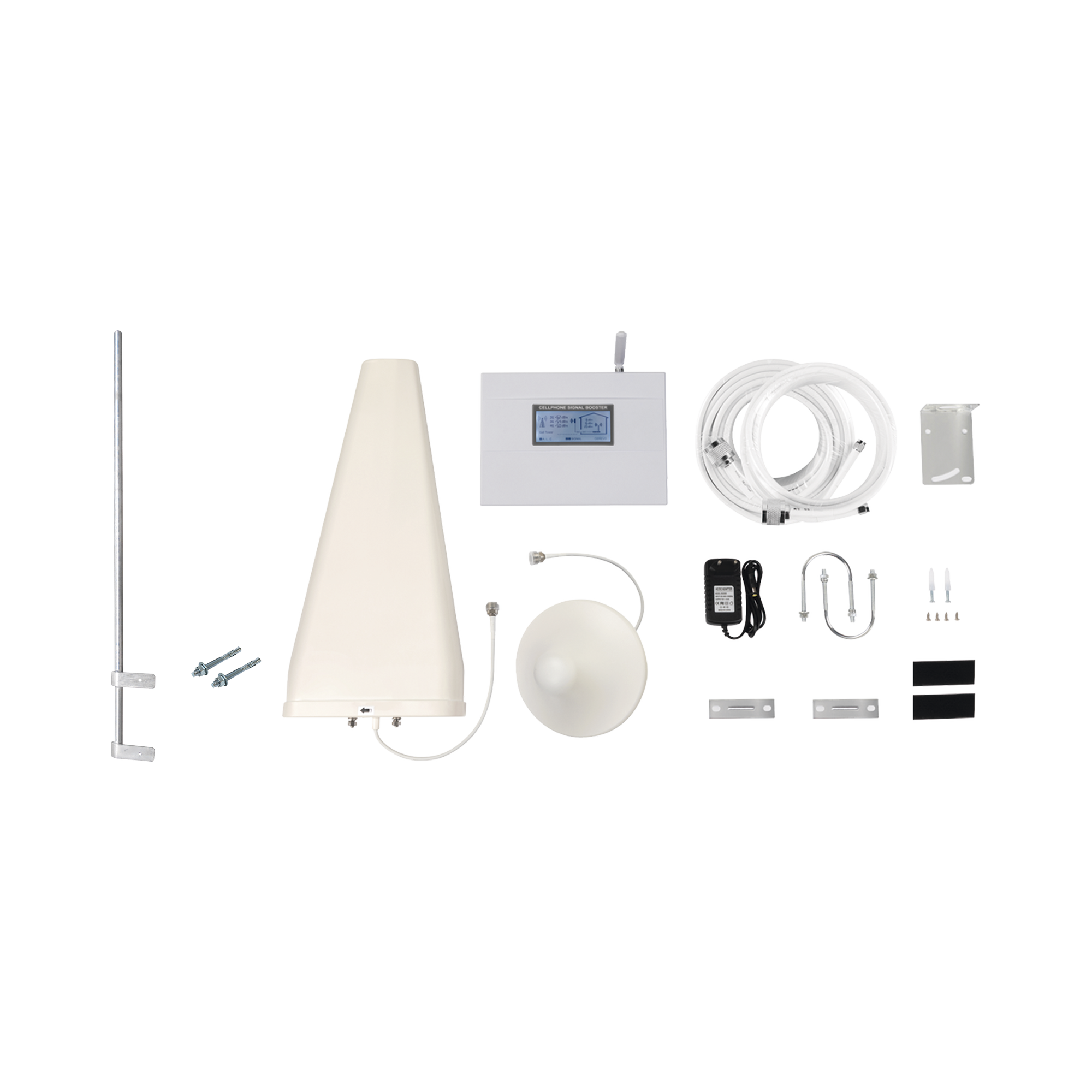 Kit de Amplificador de Señal Celular 4G LTE con Mástil Liviano de Pared | Funciona con Todos los Operadores | Soporta Múltiples Dispositivos y Tecnologías | Hasta 500 metros cuadrados de Cobertura