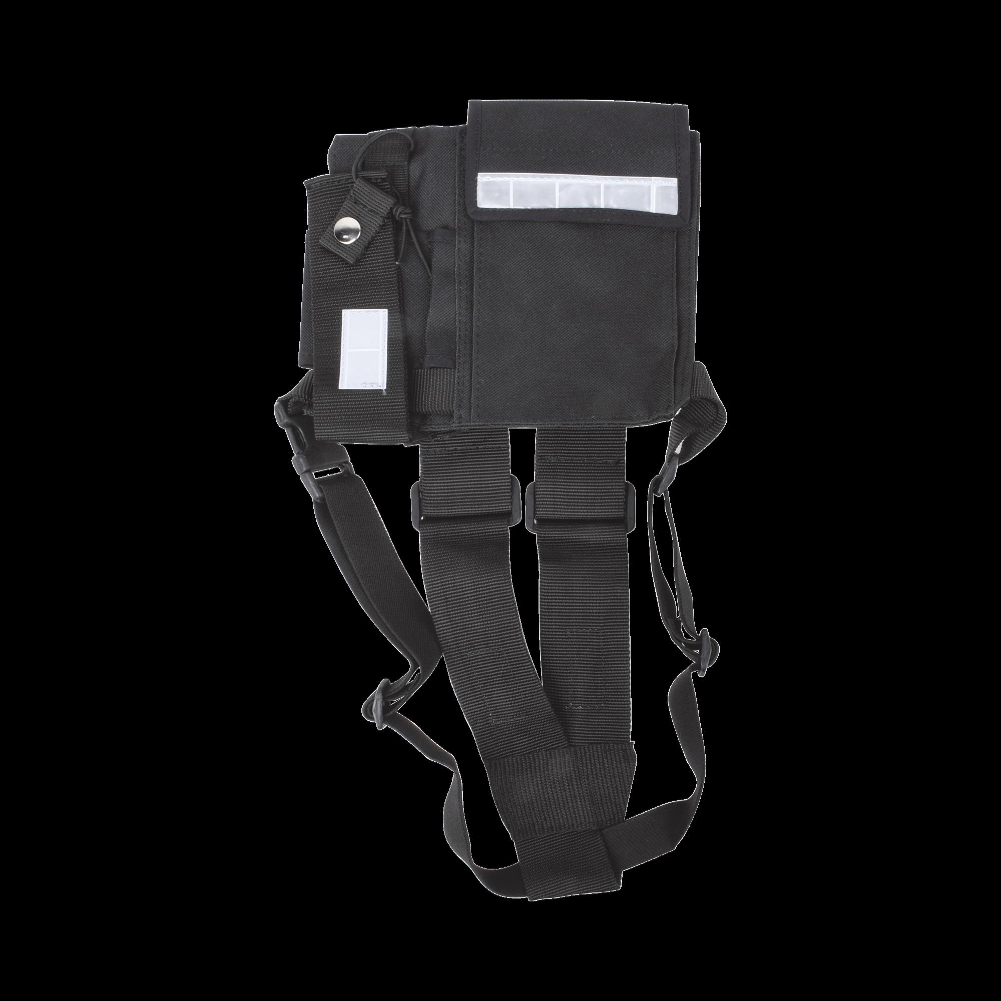 Pechera Universal sin logo con soporte para radio y boligrafo más bolsa con cinta adherente para su seguridad.