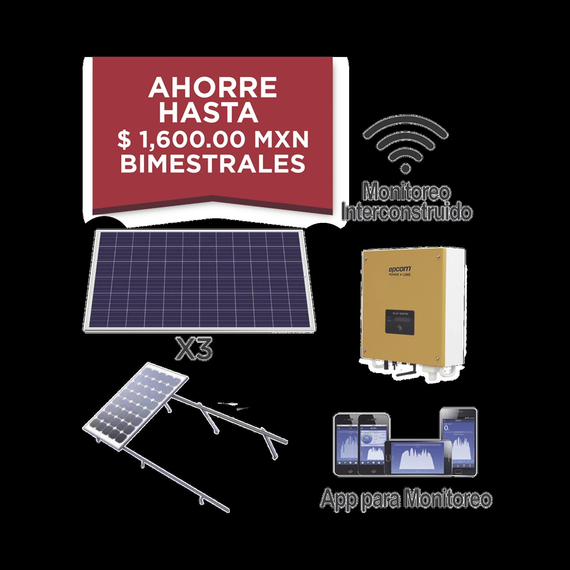 Kit solar para interconexión de 1 KW de potencia, 220 Vca con inversor de cadena y paneles policristalinos.