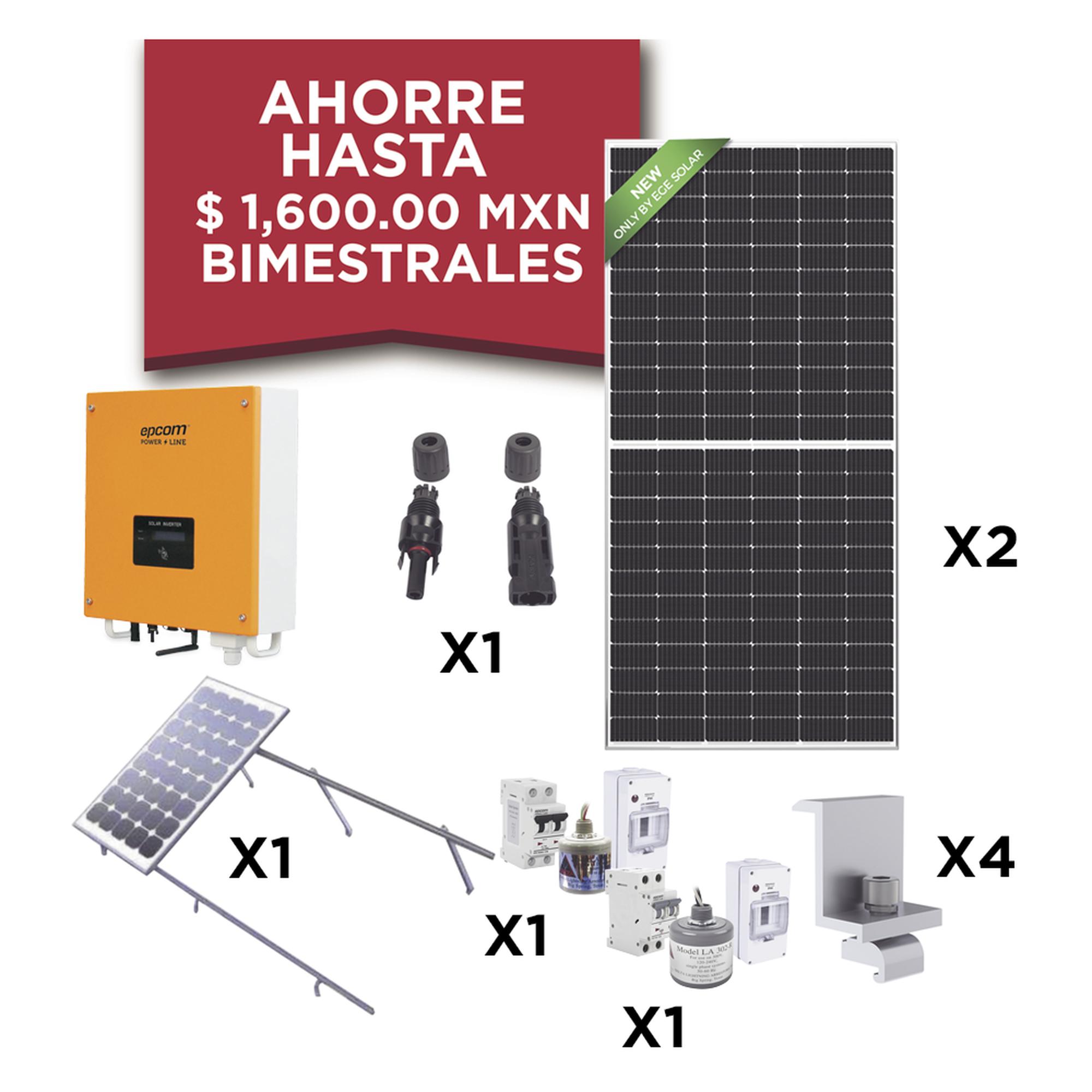 Kit Solar para Interconexión de 1 KW de Potencia, 220 Vca con Inversor de Cadena y Paneles Monocristalinos de 450 W