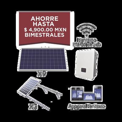 Kit solar para interconexión de 3 KW de potencia, 220 Vca con inversor de cadena y paneles policristalinos.