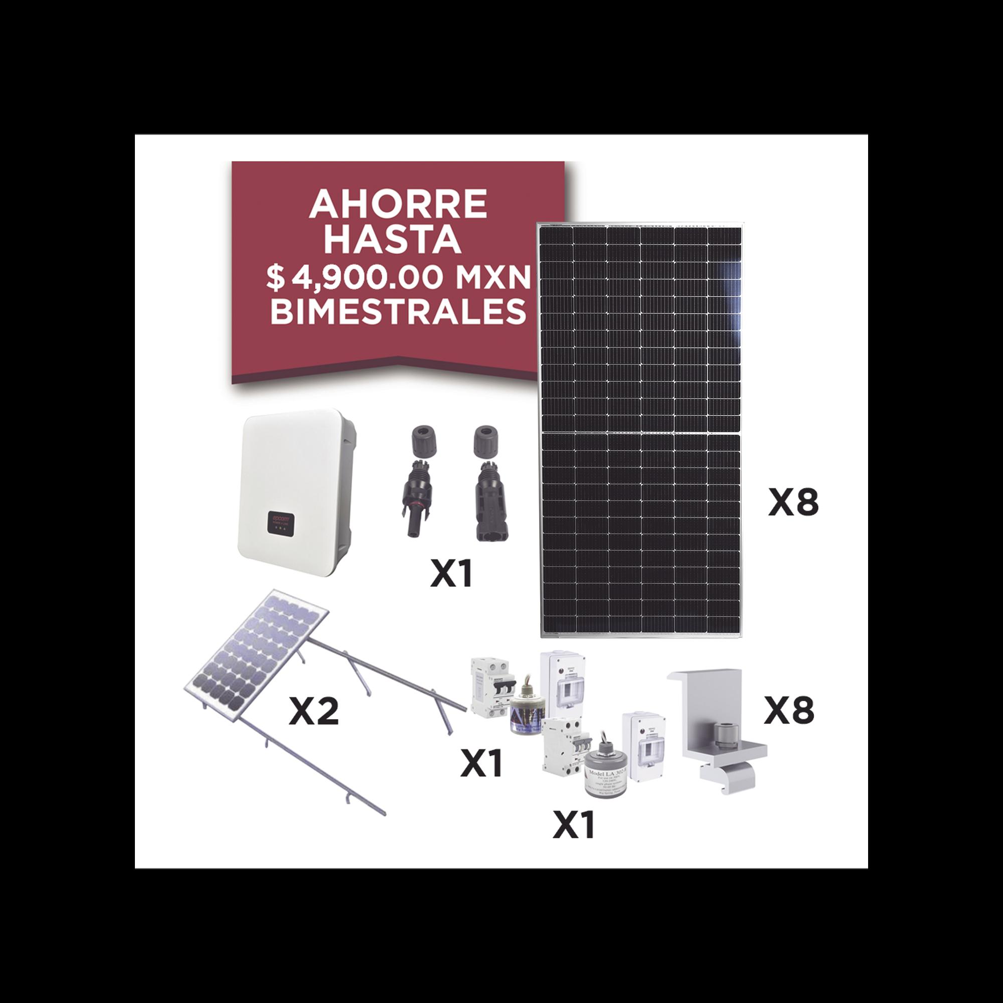 Kit Solar para Interconexión de 3 KW de Potencia, 220 Vca con Inversor de Cadena y Paneles Monocristalinos de 450W