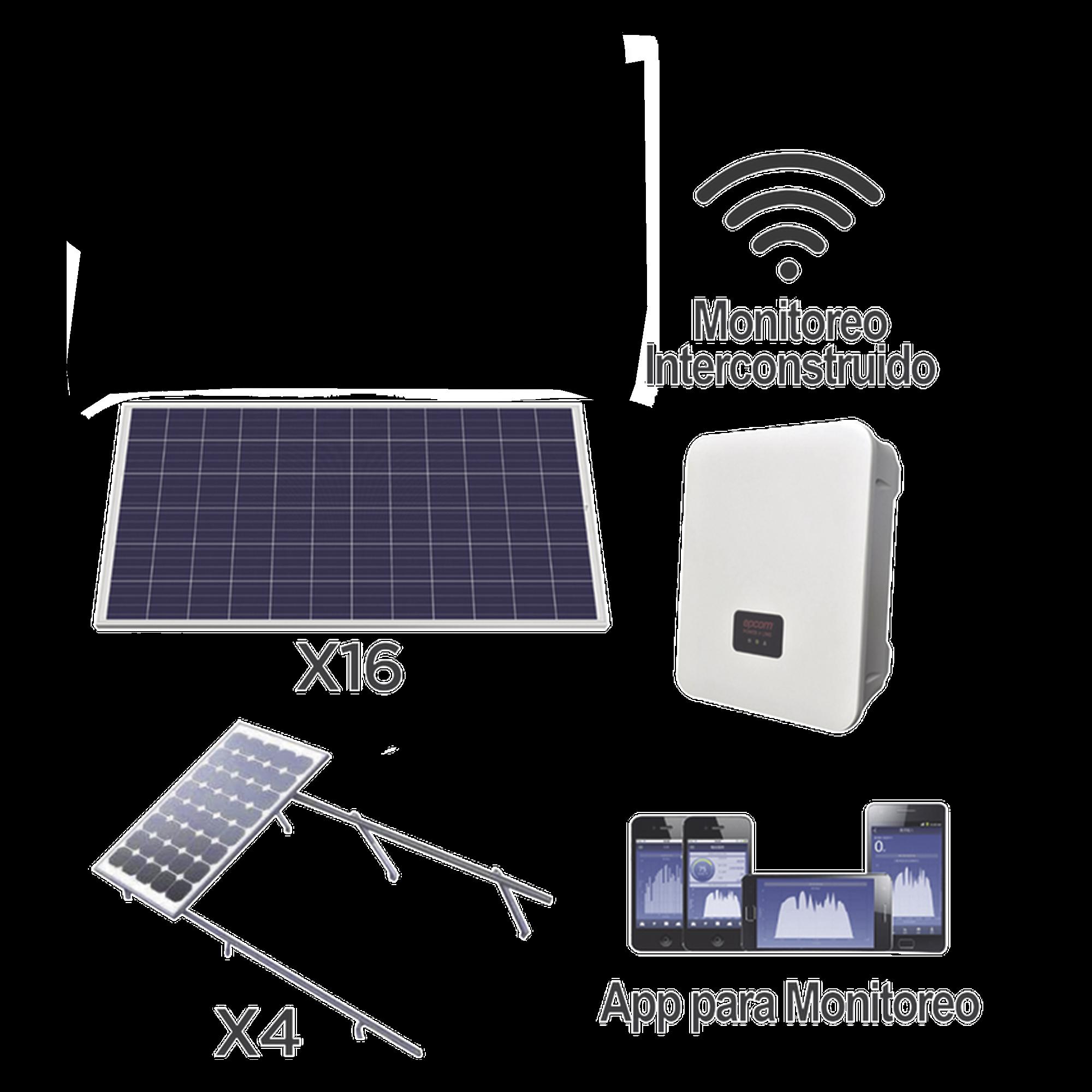 Kit solar para interconexión de 5 KW de potencia, 220 Vca con inversor cadena y paneles policristalinos.