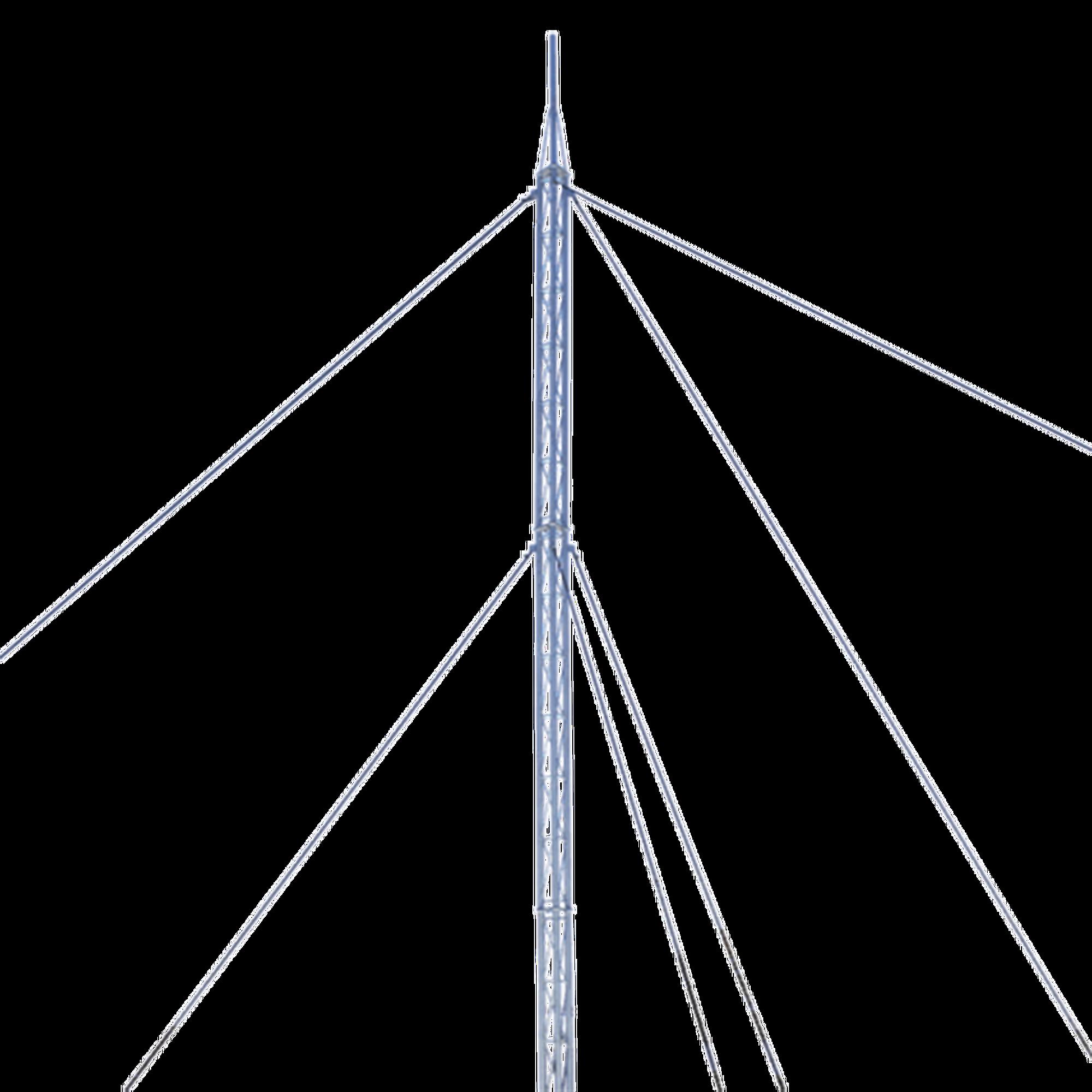 Kit de Torre Arriostrada de Techo de 24 m con Tramo STZ30G Galvanizada por Inmersión en Caliente (No incluye retenida).