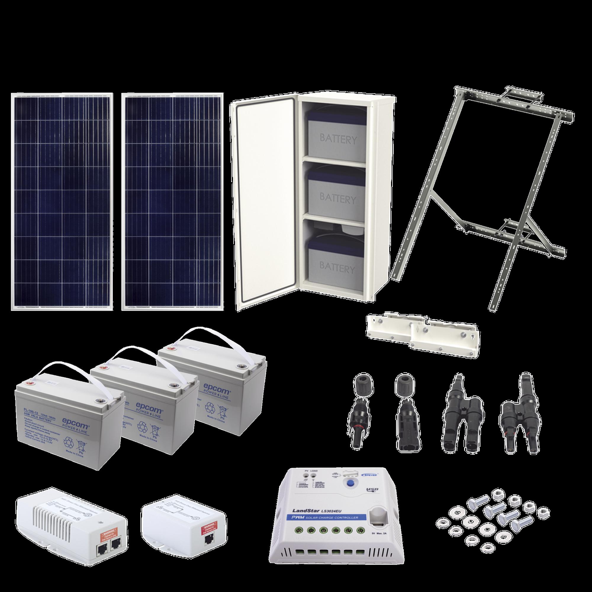 Kit Solar de 35 W con PoE 802.3af y PoE Pasivo 24 Vcd para una Cámara IP y un Radio Ubiquiti airMAX o Cambium ePMP.