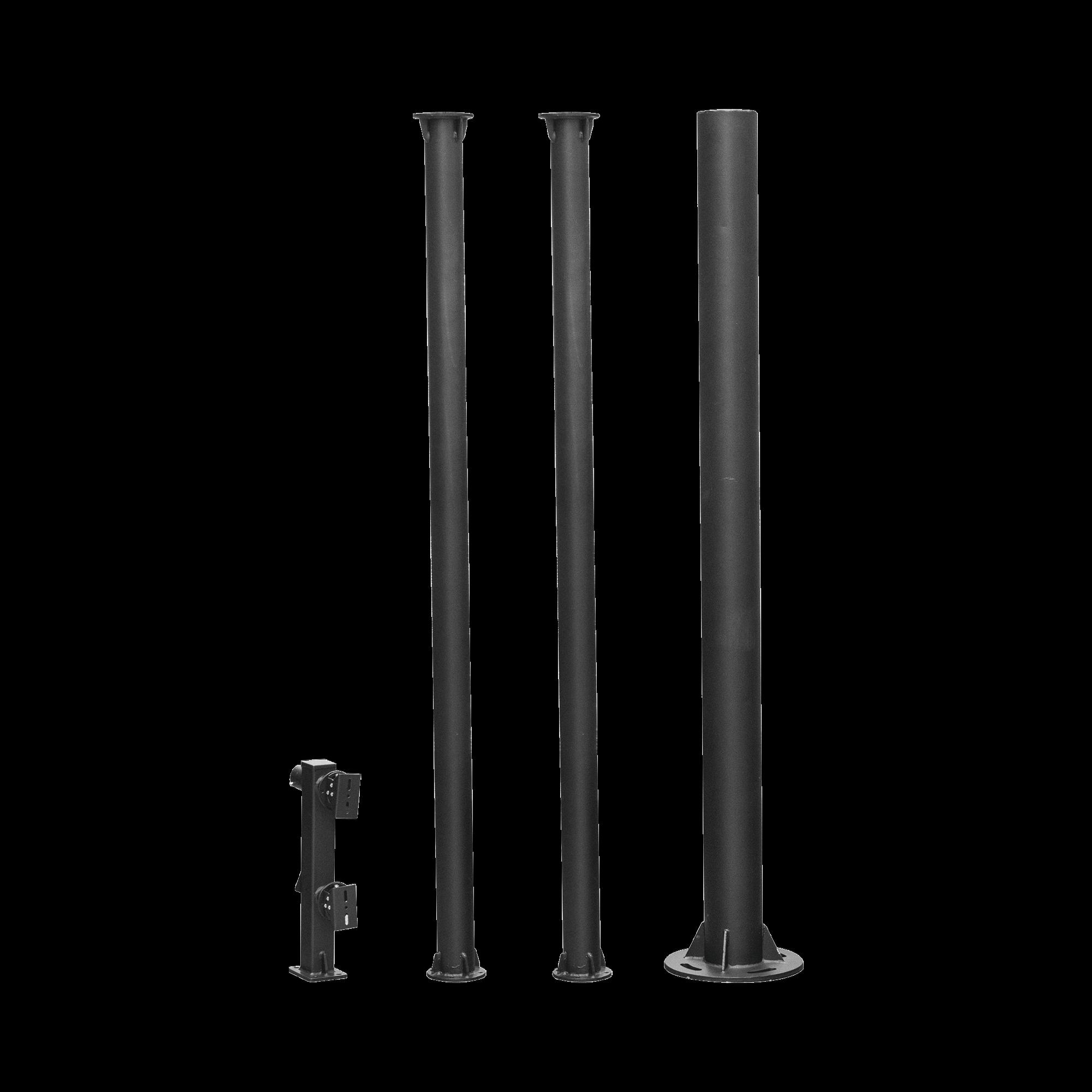 Poste seccionado de 6m, especializado para la instalacion de CCTV, incluye base de cimentacion, brazo para cámara PTZ, acero galvanizado, todo en color negro.
