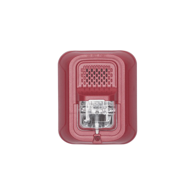 Sonorizador Tipo Chime con Lámpara Estroboscópica a 2 Hilos, Montaje en Pared, Color Rojo, con Configuración Estroboscópica Seleccionable, Nuevo Diseño Moderno y Elegante y Menor Consumo de Corriente