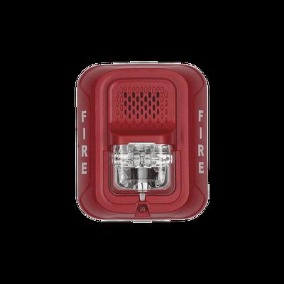 Sirena con Lámpara Estroboscópica a 2 Hilos, Montaje en Pared, Color Rojo, con Configuración Estroboscópica Seleccionable, Nuevo Diseño Moderno y Elegante y Menor Consumo de Corriente