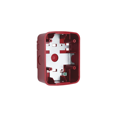 Caja de Montaje en Pared para Bocina y Bocina con Lampara Estroboscopica y para montaje en Techo de Bocinas, Color Rojo