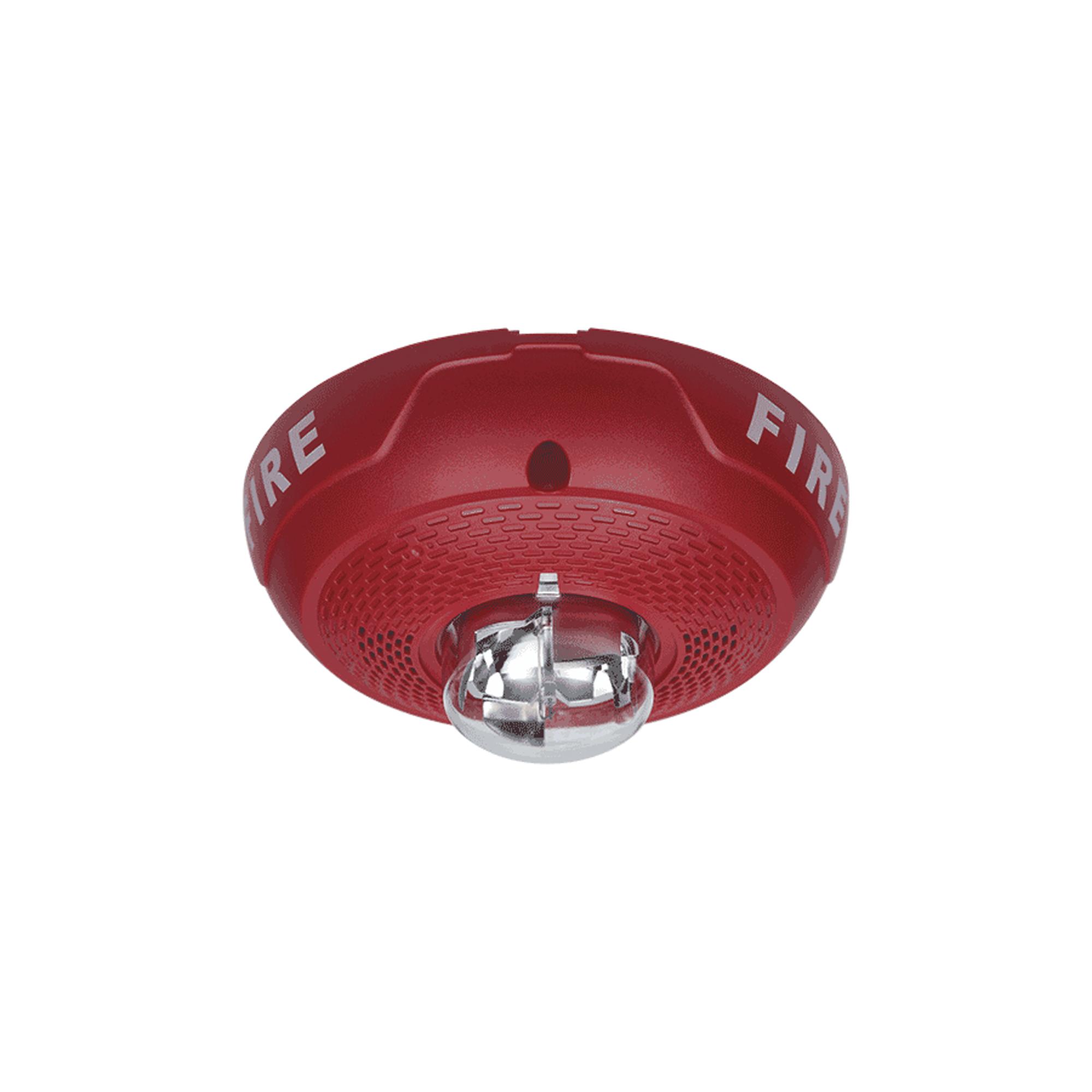 Bocina con Lámpara Estroboscópica, Montaje en Techo, Color Rojo, Nuevo Diseño Moderno y Elegante y Menor Consumo de Corriente