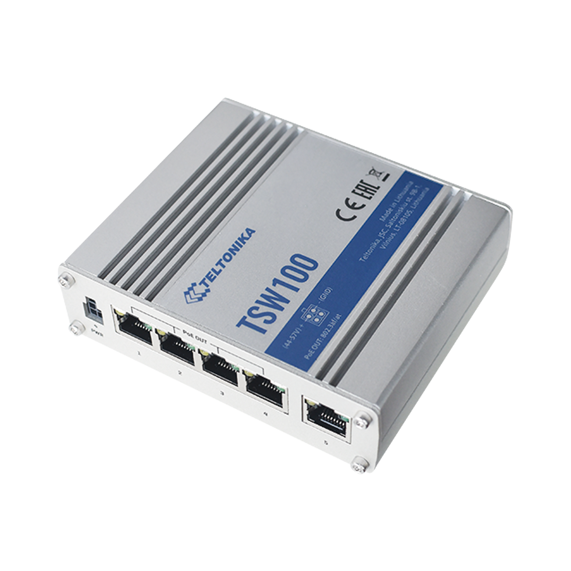 Switch Industrial No-Administrable 5 puertos Gigabit, PoE en 4 puertos 802.3af/at (120W)