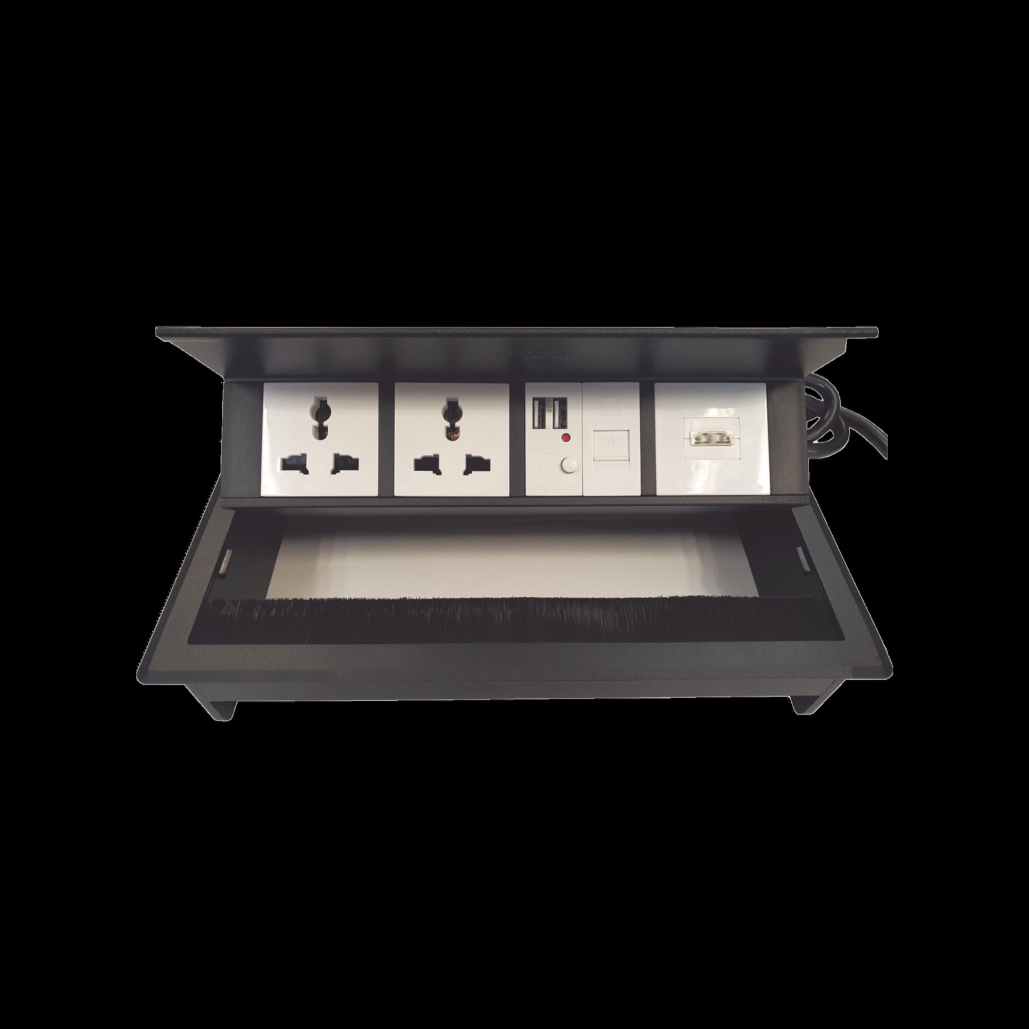 Caja Horizontal tipo Hub para escritorio color negro, con 1 Puerto HDMI Hembra-Hembra, 1 puerto RJ45 Cat6,  2 Puertos USB (Solo carga),  y 2 Contactos eléctricos universales