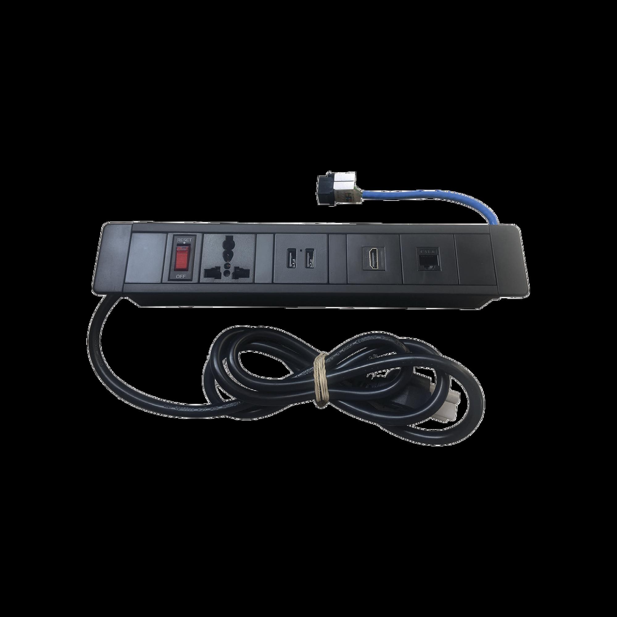 Hub para escritorio color negro,  con 1 Puerto HDMI Hembra-Hembra, 1 Conector RJ45 Cat6, 2 Puertos USB 5V DC /2 A, y 1 Contacto eléctrico universal