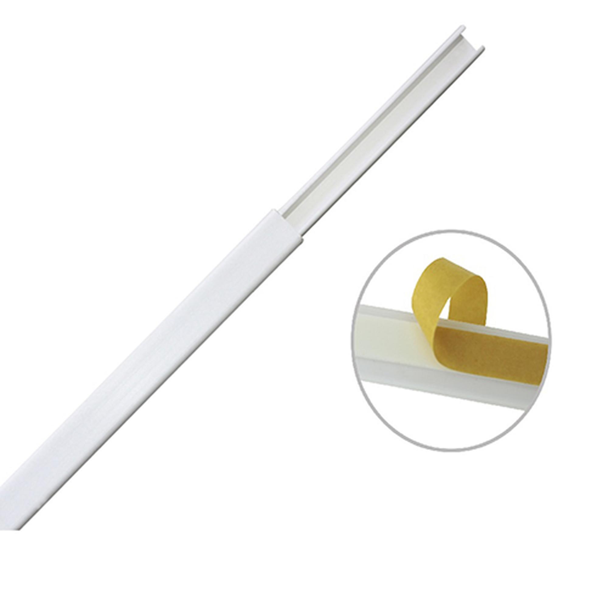 Canaleta color blanco de PVC auto extinguible, de una vía, 12 x 8 mm tramo de 6 pies con cinta adhesiva (5000-21252)