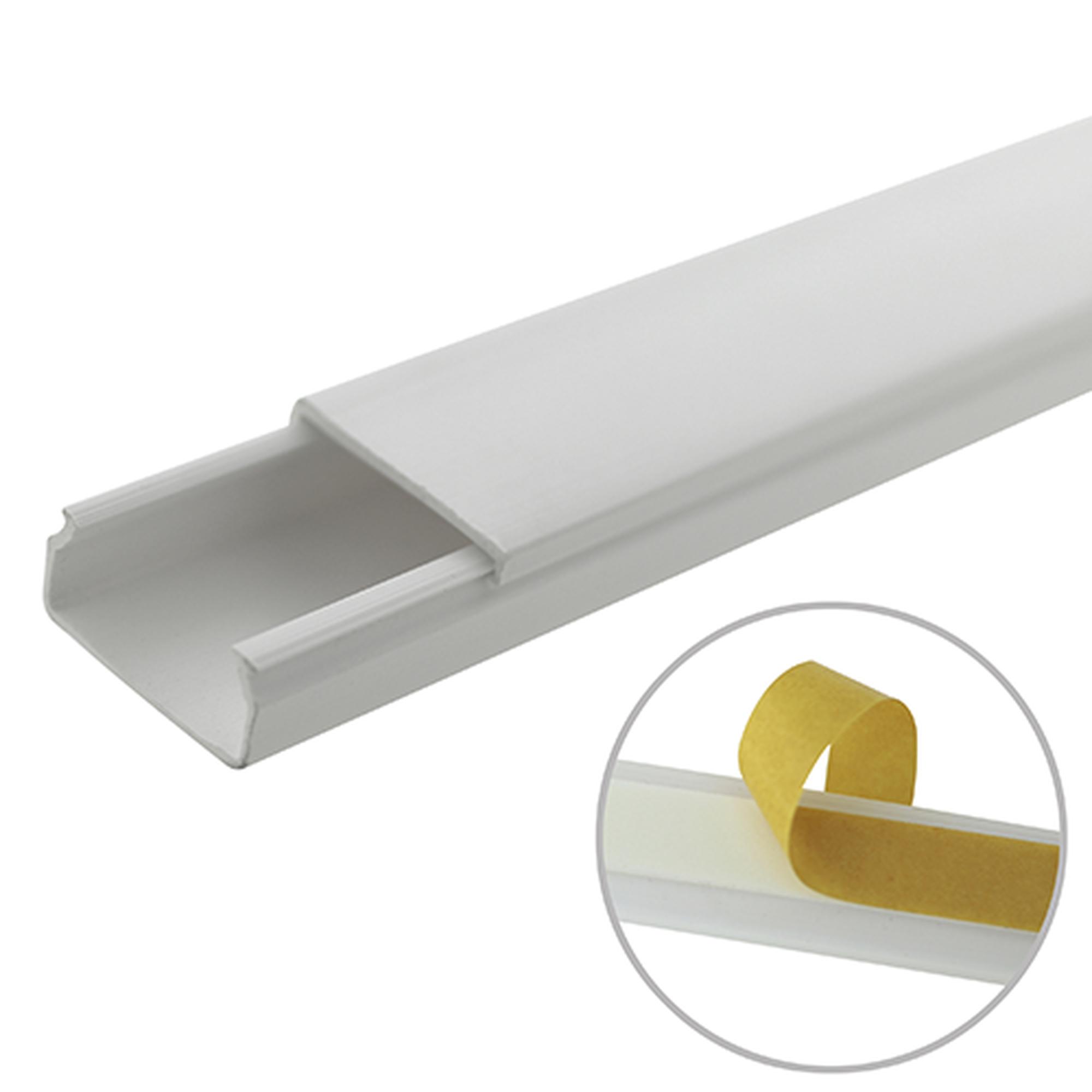 Canaleta blanca de PVC auto extinguible, sin división, 20 x 10 mm, tramo de 6 pies, con cinta adhesiva (5101-21262)