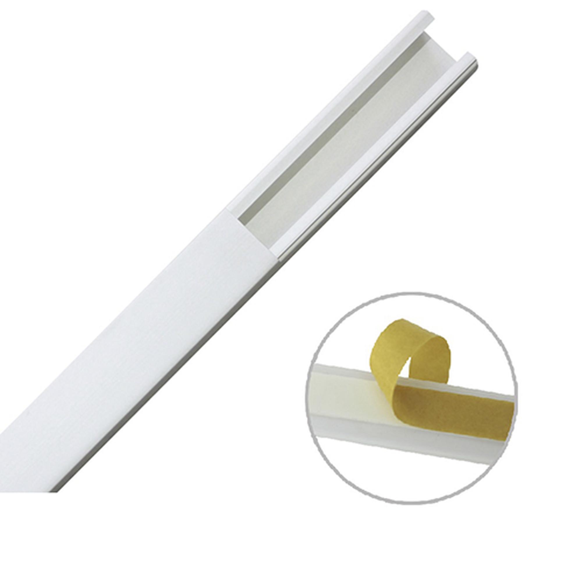 Canaleta color blanco de PVC auto extinguible de una vía, 20 x 17 mm tramo 6 pies, con cinta adhesiva (5201-21252)