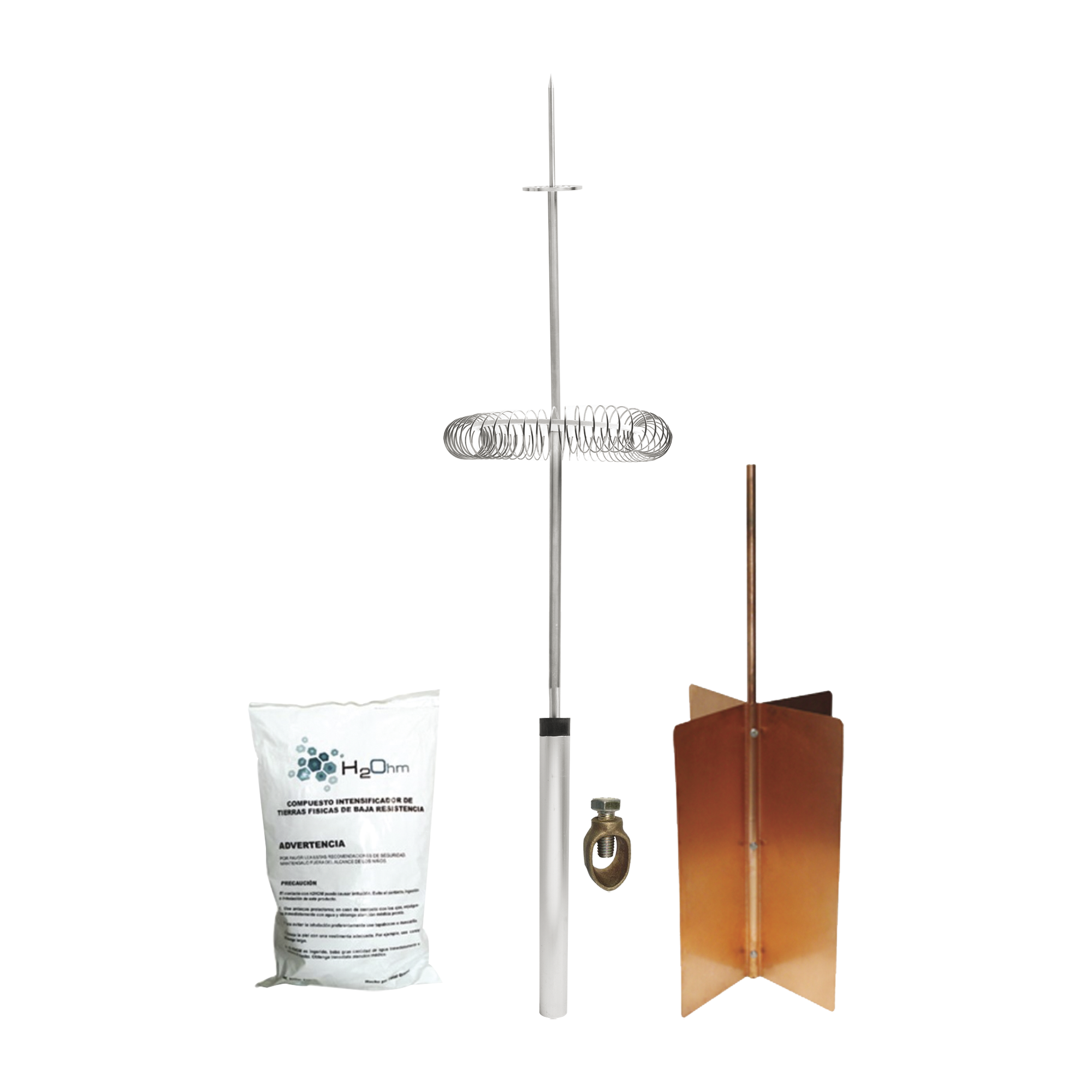Kit Básico de Pararrayo con Punta Dipolo y Electrodo Tipo Rehilete. Instalación en Poste o Torre.