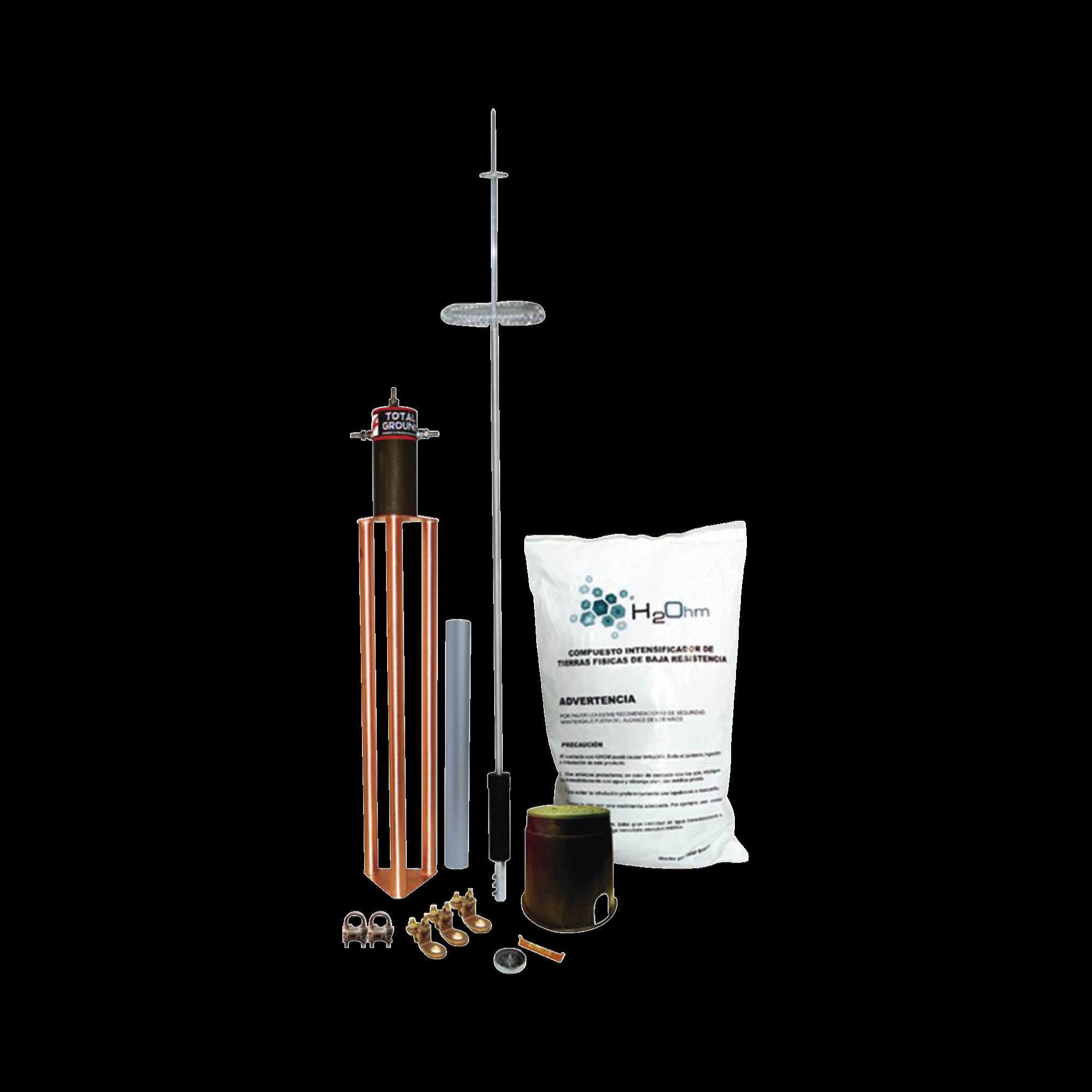Kit de Pararrayo para Torre o Poste tipo Dipolo Corona con Electrodo y Accesorios de instalación.