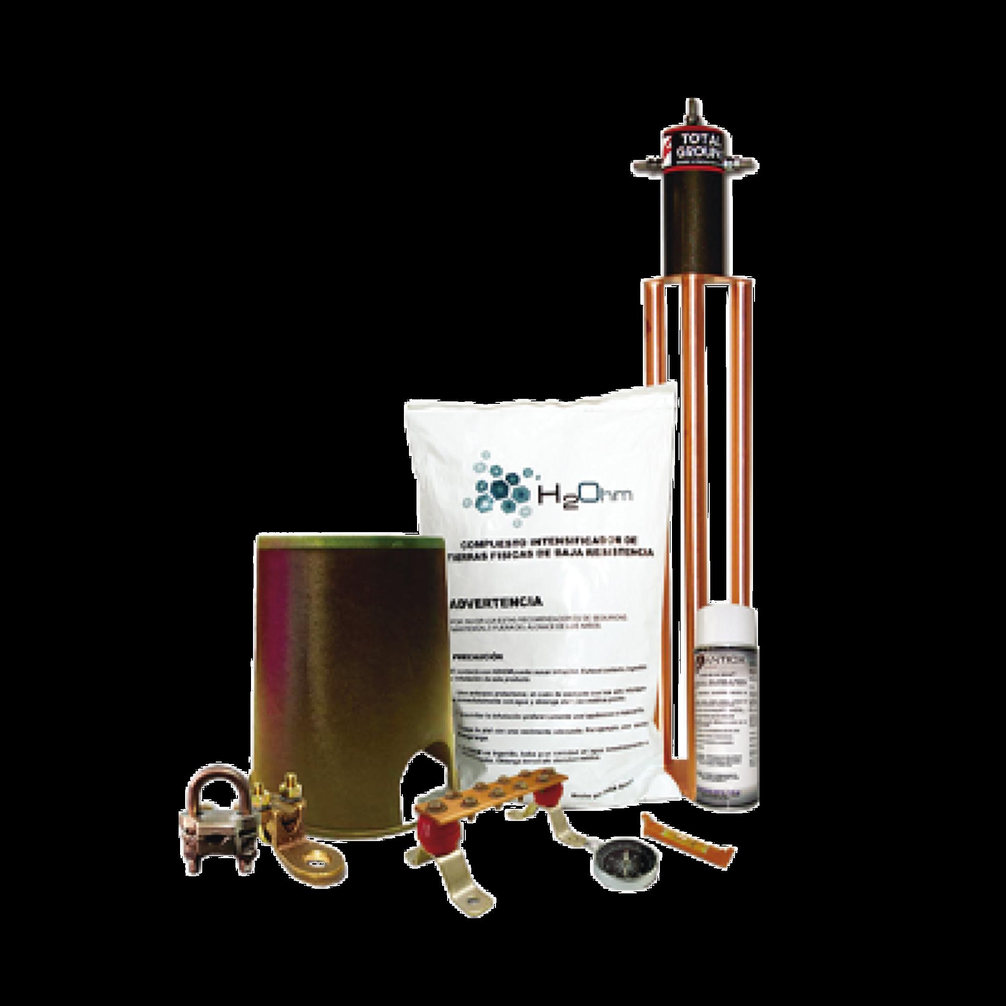 Kit de Tierra Física con Electrodo TG100AB y accesorios de instalación.
