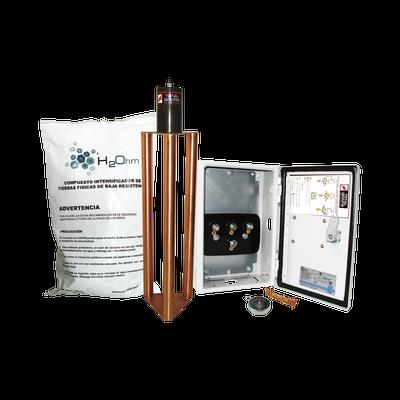 Electrodo de puesta a tierra de 400 A con  Filtro y Compuesto H2Ohm.