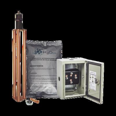 Kit de puesta a tierra de 70 A con Electrodo, Filtro, Acoplador y Compuesto H2Ohm.