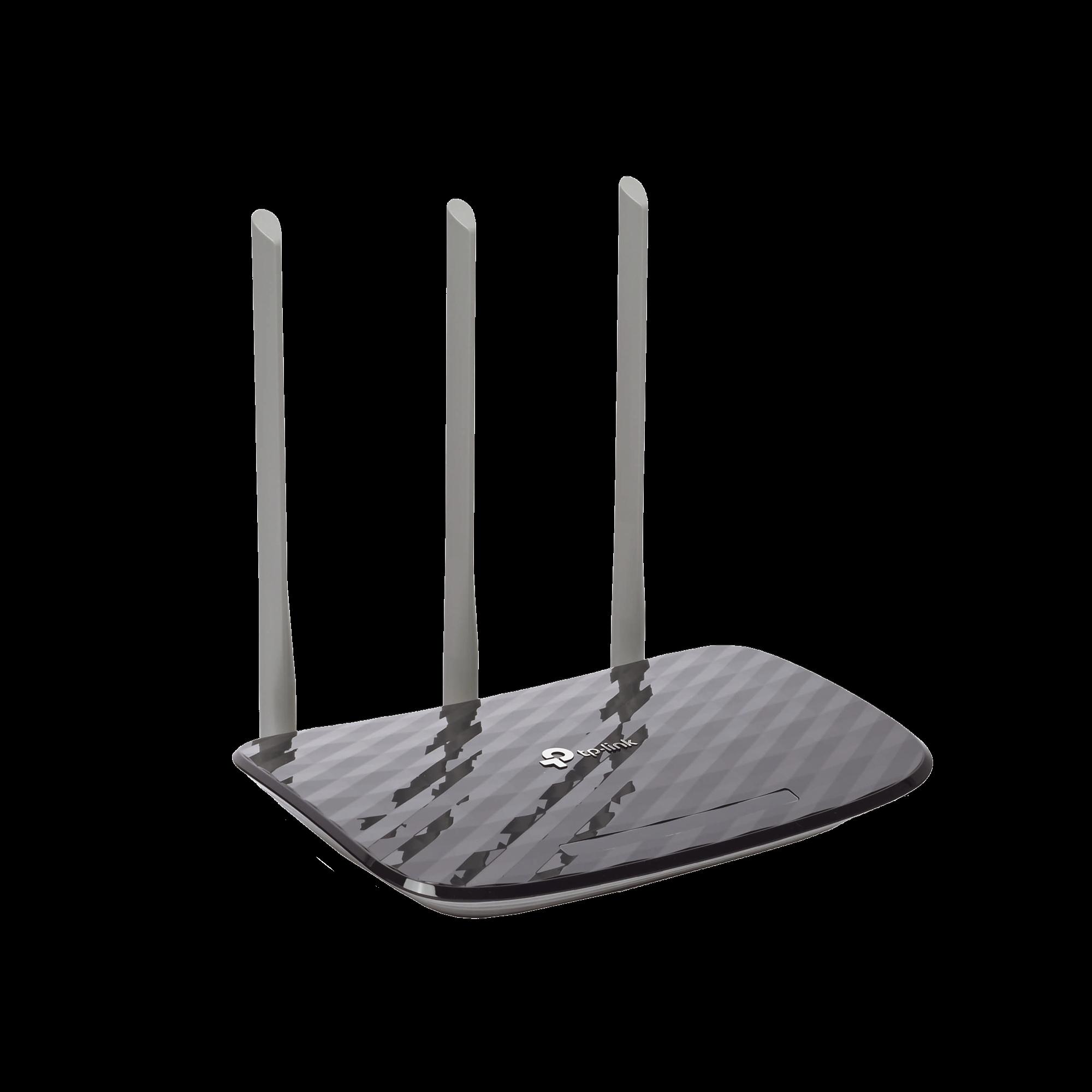 Router Inalámbrico doble banda AC, 2.4 GHz y 5 GHz Hasta 733 Mbps, 3 antenas externas omnidireccional, 4 Puertos LAN 10/100 Mbps, 1 Puerto WAN 10/100 Mbps