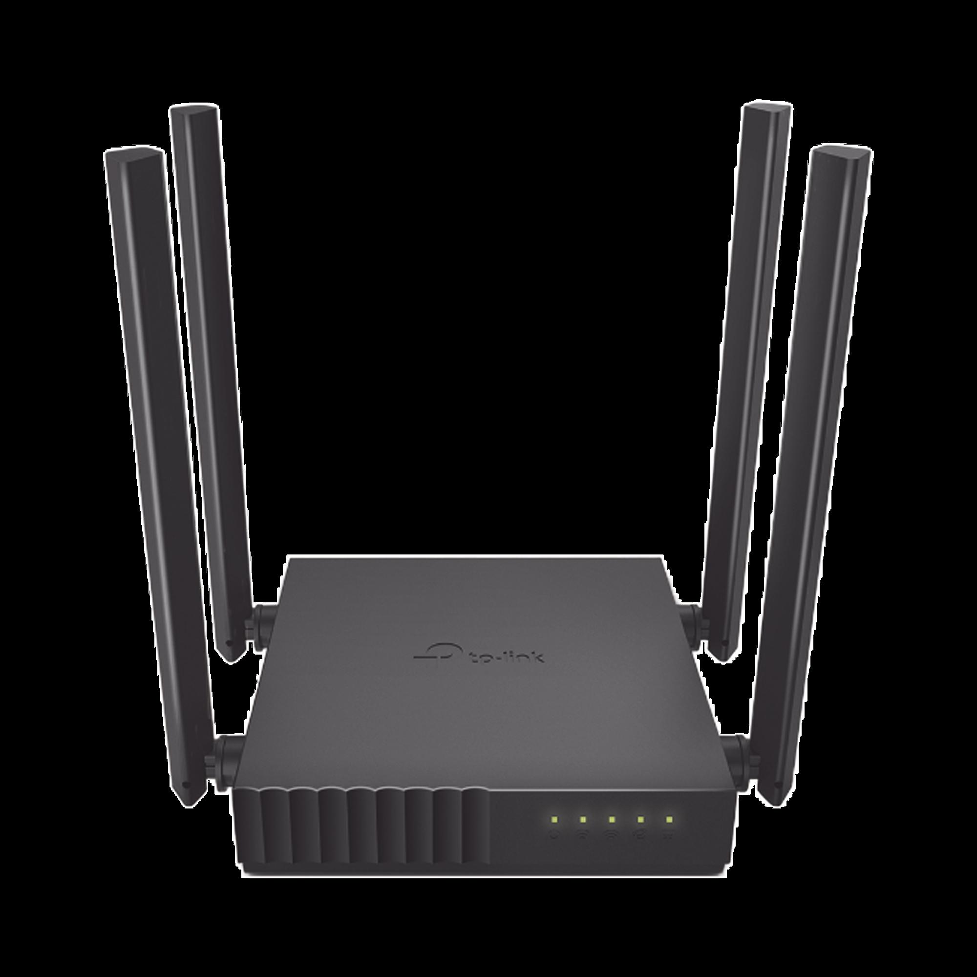 Router Inalámbrico doble banda AC, 2.4 GHz y 5 GHz Hasta 1200 Mbps, 4 antenas externas omnidireccional, 4 Puertos LAN 10/100 Mbps, 1 Puerto WAN 10/100 Mbps, Versión 6