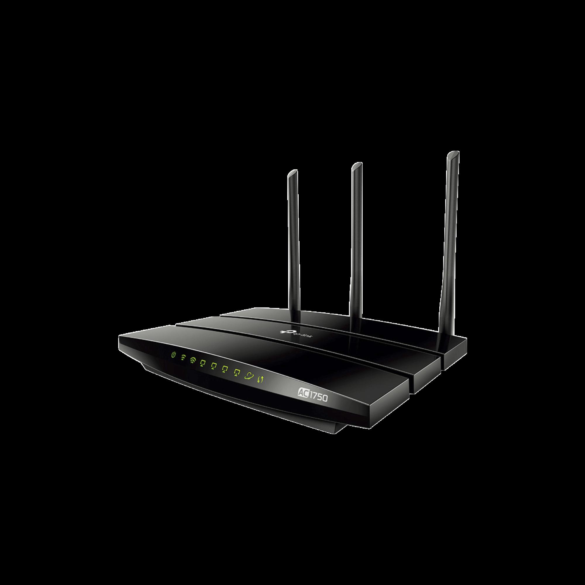 Router inalámbrico AC 1750 doble banda 1 puerto WAN 10/100/1000 Mbps Y  4 puertos LAN 10/100/1000 Mbps, 2 puertos USB 2.0