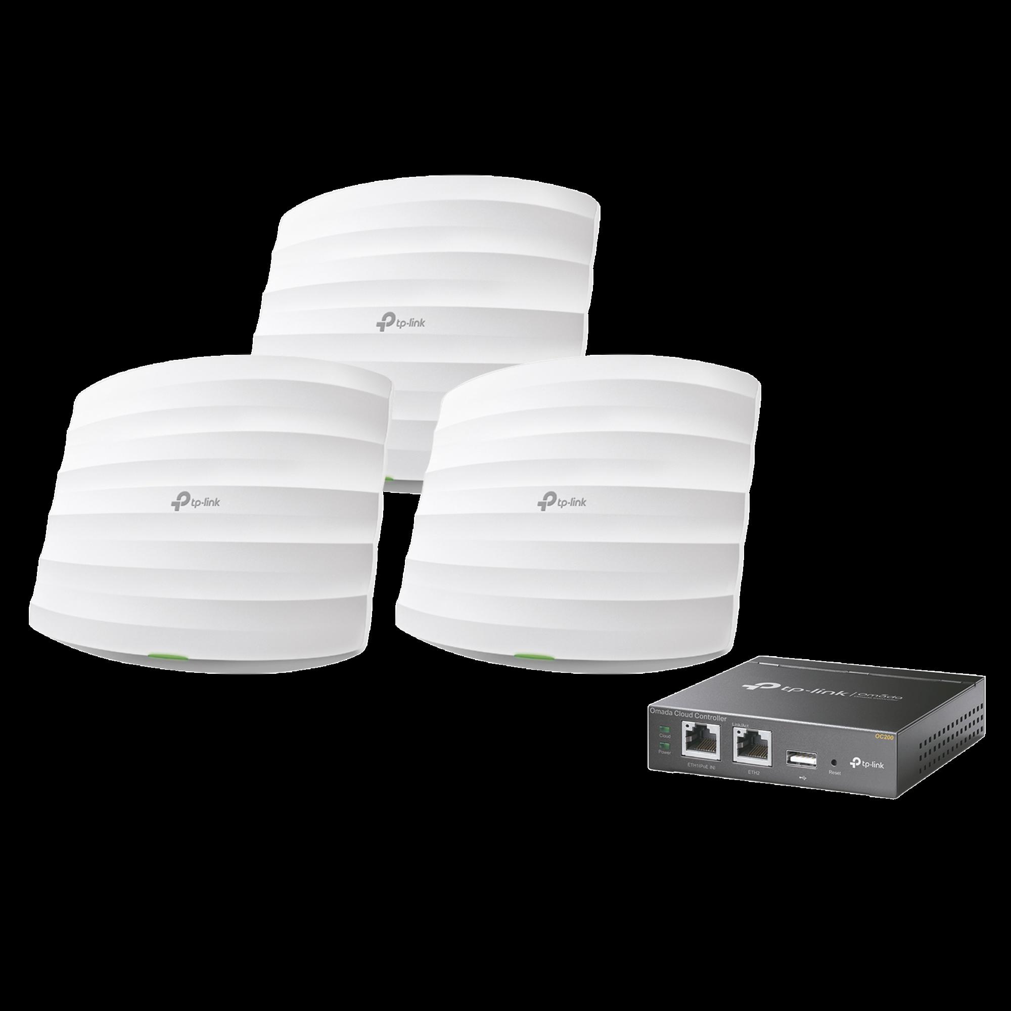 KIT de 3 Puntos de Acceso Omada y 1 controlador, 802.11 b/g/n (2.4 GHz), hasta 300 Mbps, alimentación PoE pasivo, para montaje en techo, soporta hasta 50 clientes.