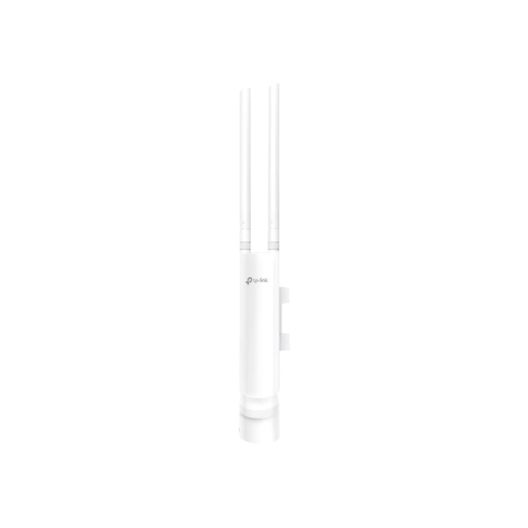 Punto de acceso WiFi Omada para exterior, 802.11 b/g/n (2.4 GHz), 2 antenas de 3 dBi desmontables, alimentación PoE pasivo, soporta hasta 50 clientes.