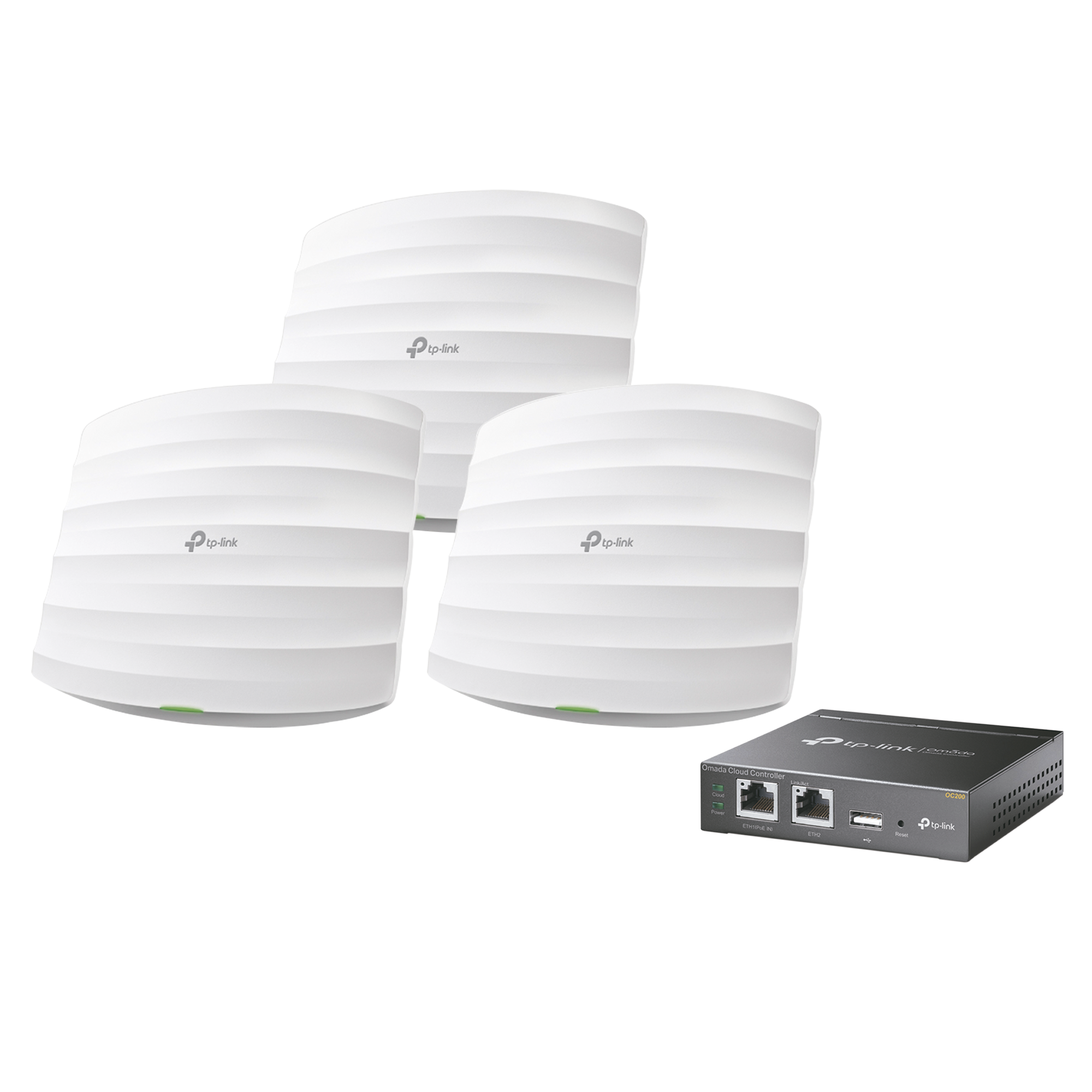 Kit de 3 Puntos de Acceso Omada y 1 Controlador,  doble banda 802.11ac, MU-MIMO, PoE 802.3af y PoE Pasivo, soporta hasta 100 clientes, hasta 1350 Mbps