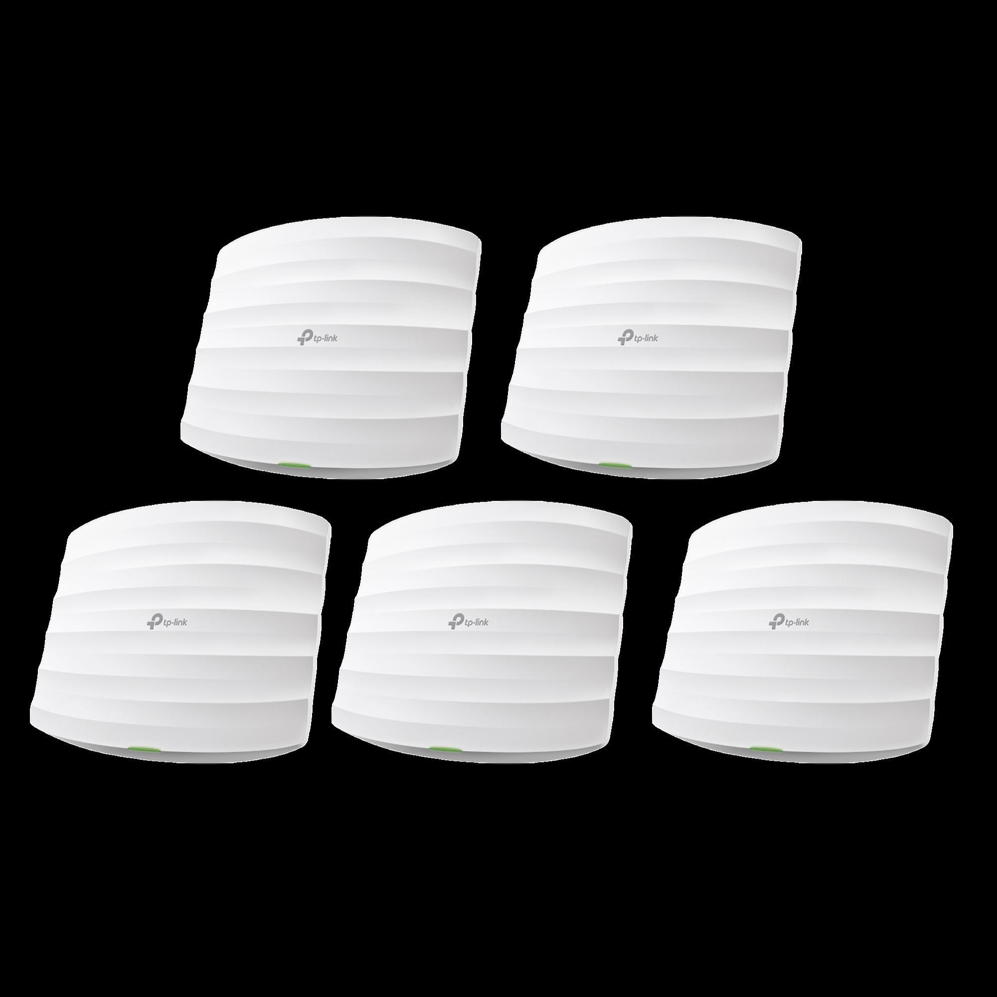 Kit de 5 Puntos de Acceso Omada de doble banda 802.11ac, MU-MIMO, PoE 802.3af y PoE Pasivo, soporta hasta 100 clientes, hasta 1350 Mbps