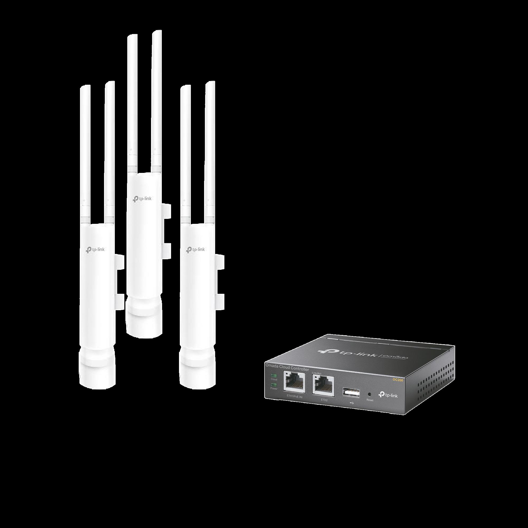 Kit de 3 Puntos de acceso WiFi Omada y 1 Controlador, doble banda 802.11ac Wave 2 para MESH en exterior, MU-MIMO, MIMO 2X2, hasta 1200 Mbps, soporta hasta 100 clientes.