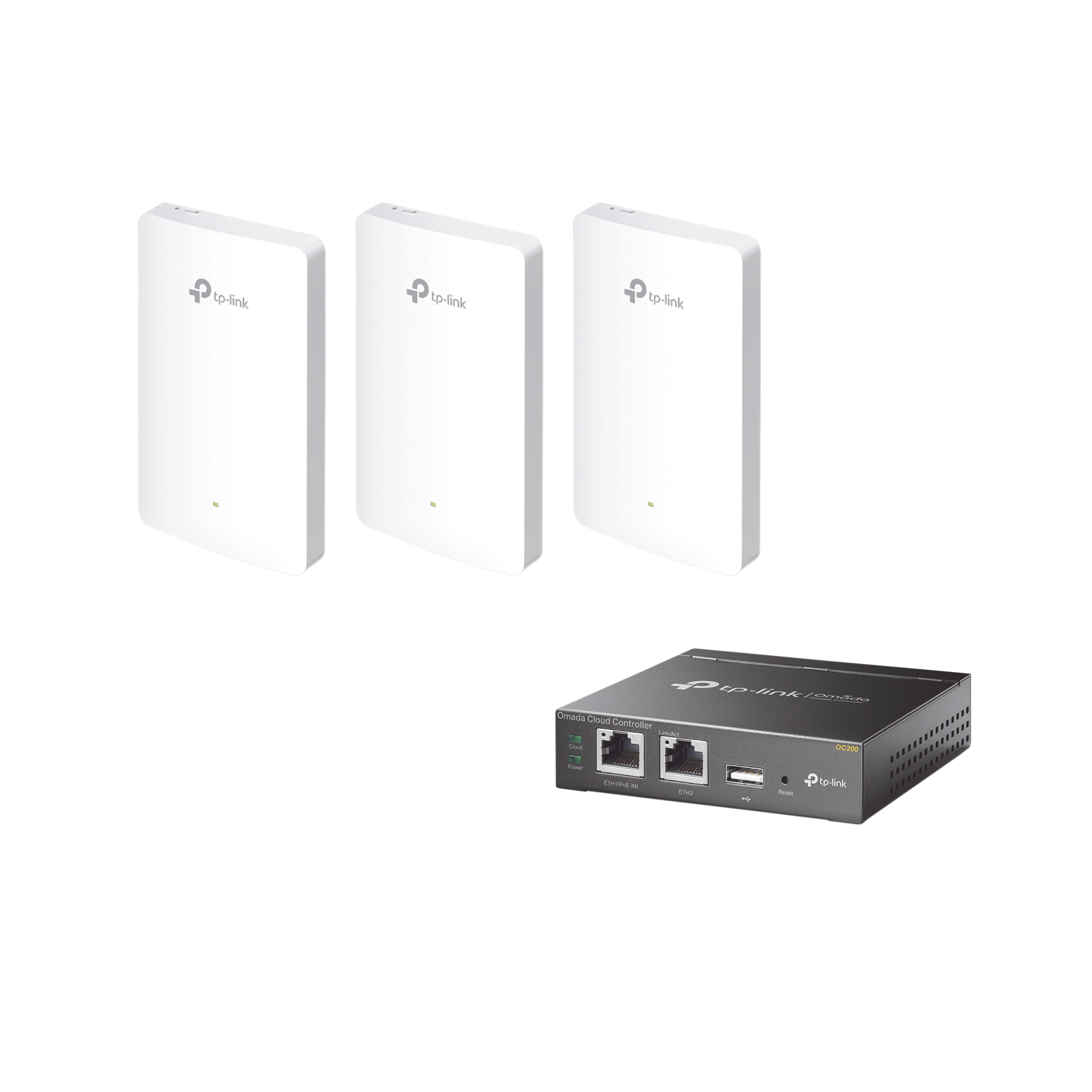 Kit de 3 Puntos de acceso Omada, 1 Controlador, doble banda 802.11ac, PoE 802.3af/at, MU-MIMO, MIMO 2x2 dise�o placa de pared con tres puertos adicionales, soporta hasta 100 clientes.