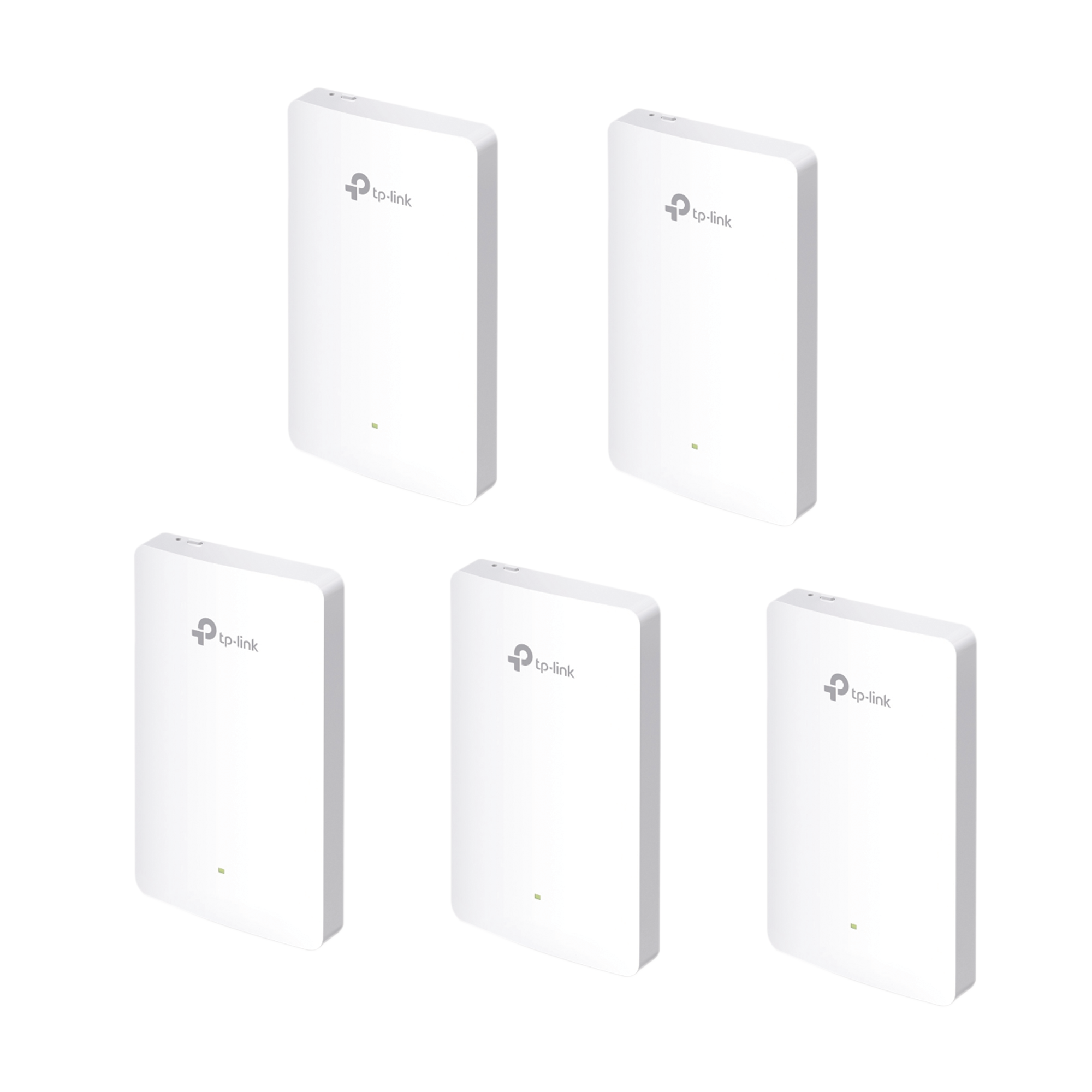 Kit de 5 Puntos de acceso Omada doble banda 802.11ac, PoE 802.3af/at, MU-MIMO, MIMO 2x2 diseño placa de pared con tres puertos adicionales, soporta hasta 100 clientes.