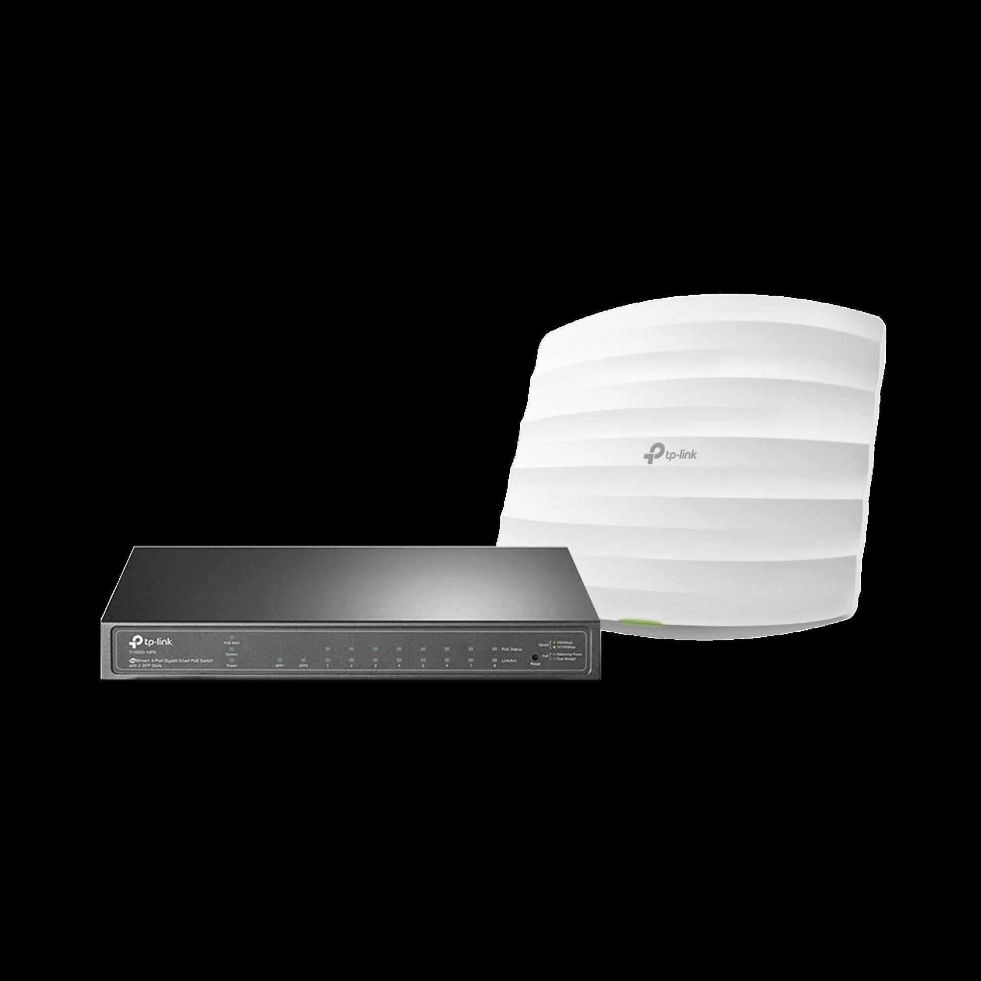 Kit de access point EAP245 y switch PoE T1500G-10PS, doble banda AC, hasta 1750 Mbps, 1 puerto Gigabit